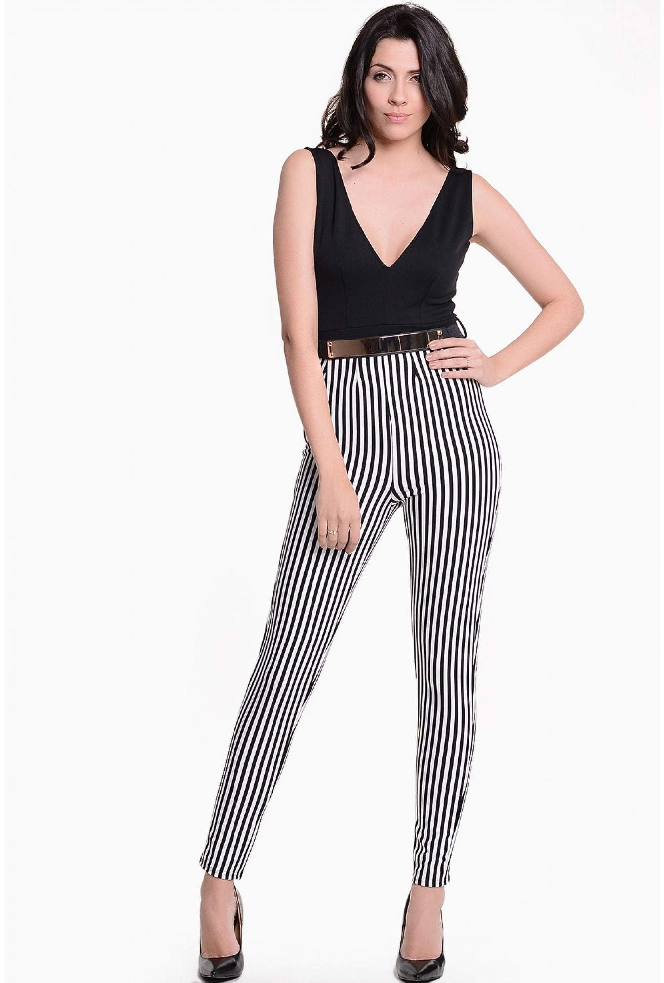 cfe439633a1 More Views. Reese Striped Jumpsuit in Black