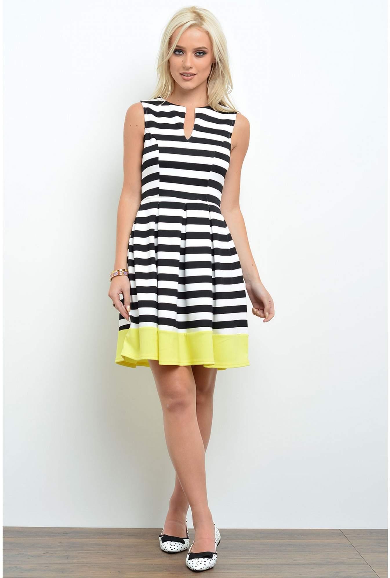 73ddd0c9ef2d8 Kimberly Striped Contrast Dress in Multi Yellow