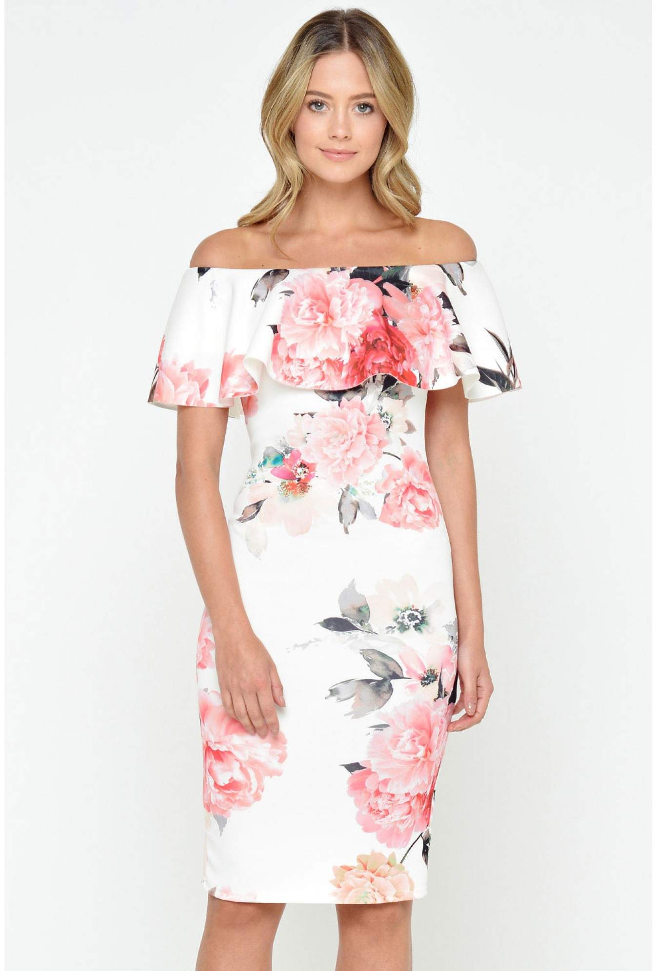 503c12b3340a Evita Lucy Off Shoulder Floral Dress in Cream | iCLOTHING