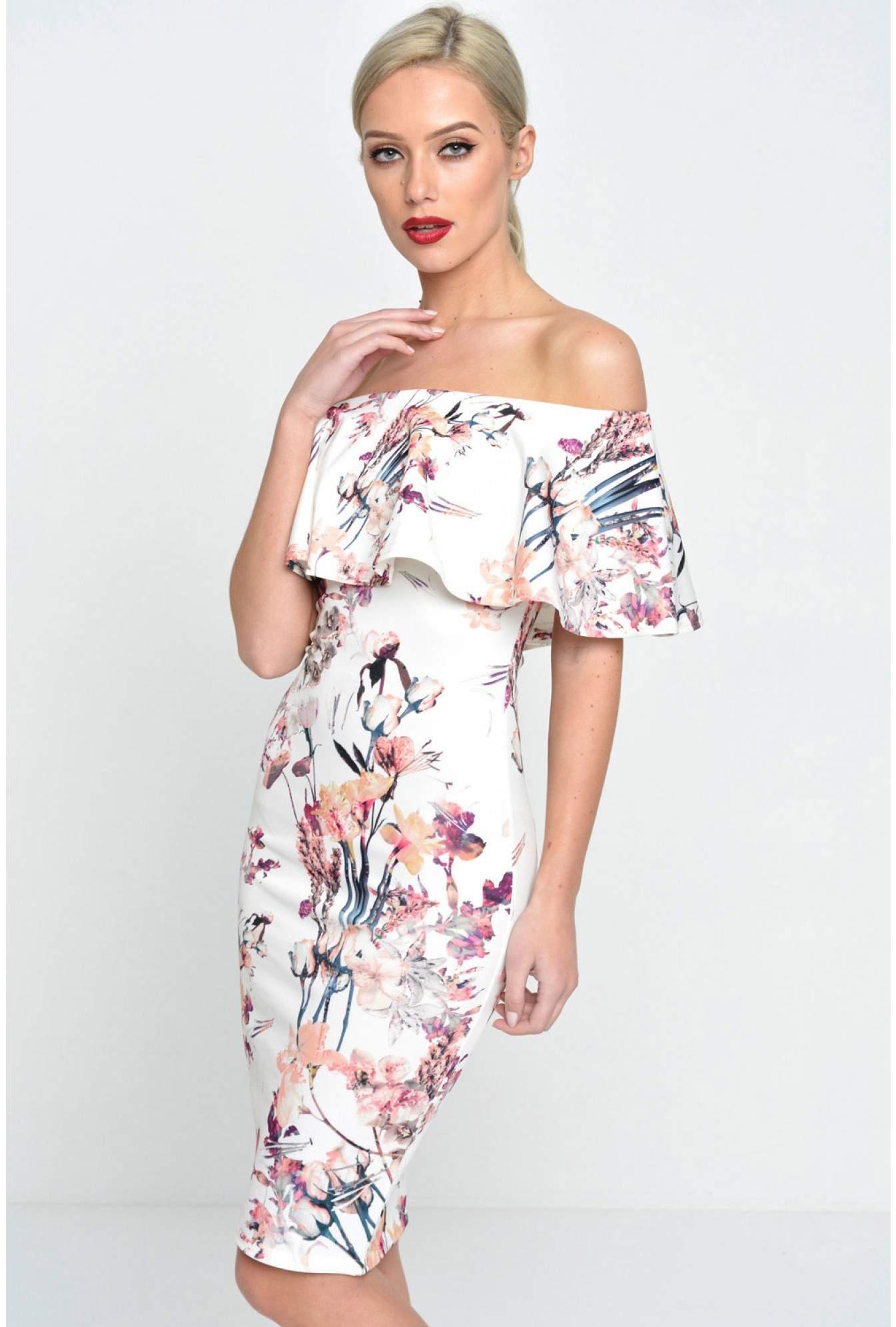 90c29c29cba6 Evita Philis Floral Off Shoulder Bodycon Dress in Cream | iCLOTHING