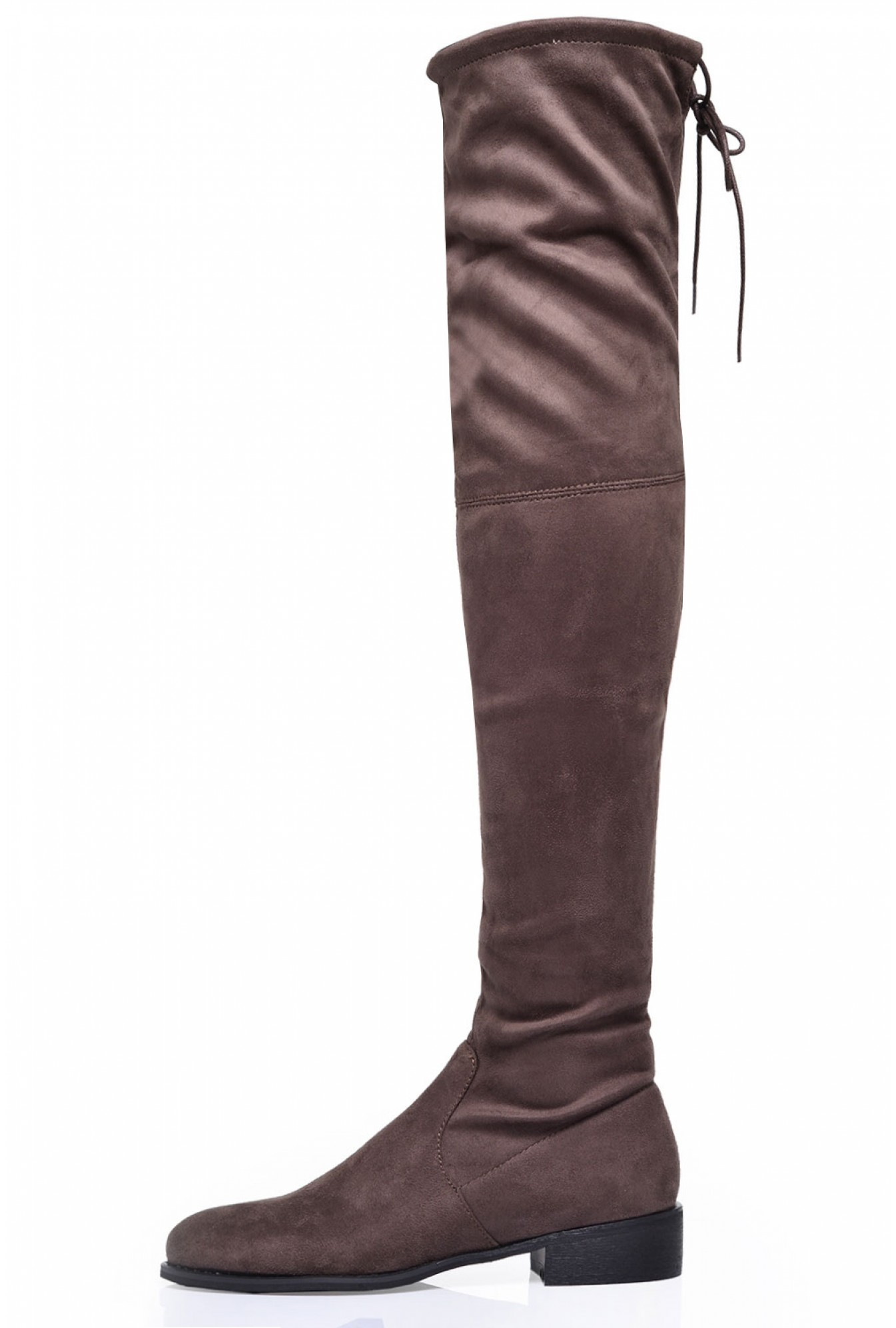 33e382f037a5 Indigo Footwear Elle Flat Over the Knee Boots in Taupe Suede