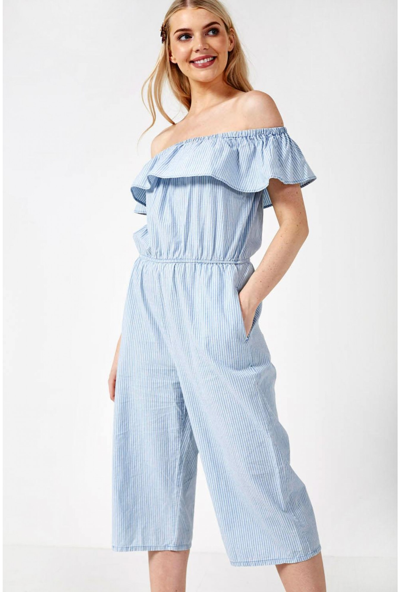 eafff8e42a1 Emilia Off Shoulder Chambray Jumpsuit in Stripe