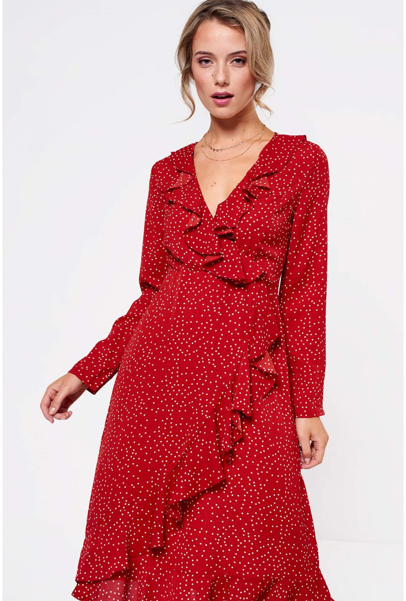 680560e746 More Views. Kara Frill Midi Dress in Red Polka Dot
