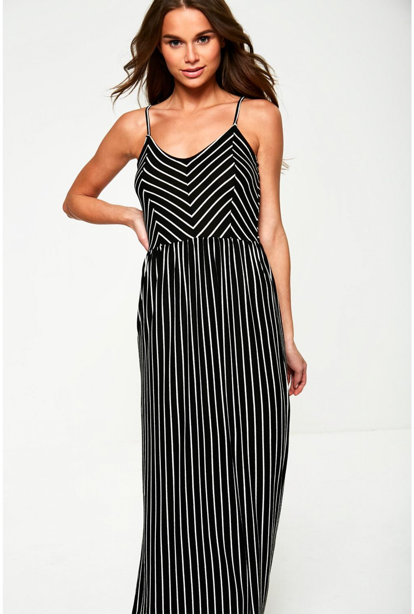 75c5e23cb2601 Pieces Striped Jersey Maxi Dress in Black   iCLOTHING