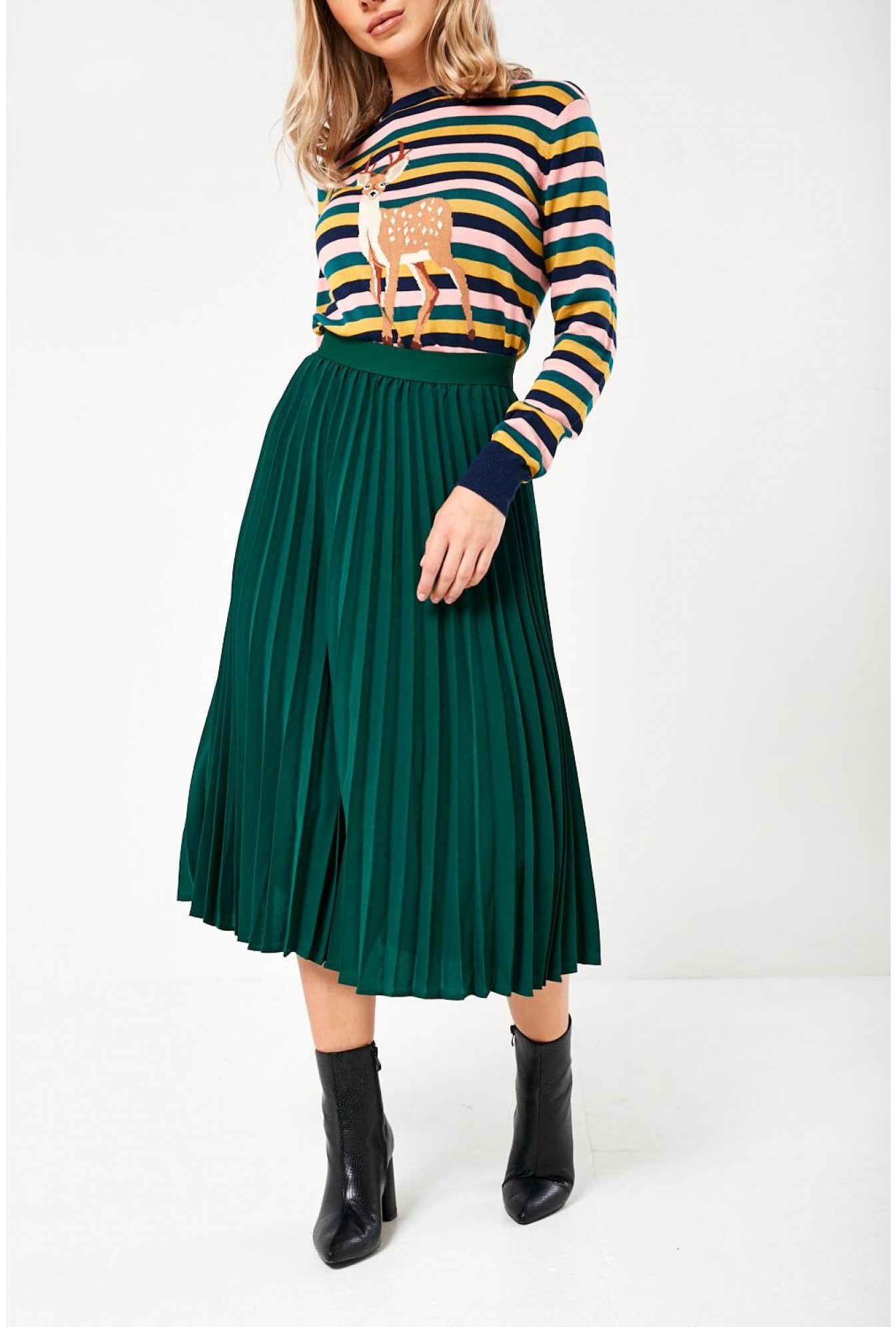 durable service sells fashionable patterns Maria Pleated Skirt in Green