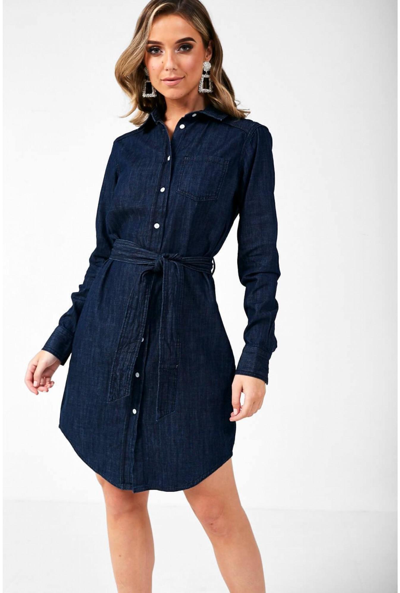 JDY Esra Shirt Dress in Dark Blue Denim