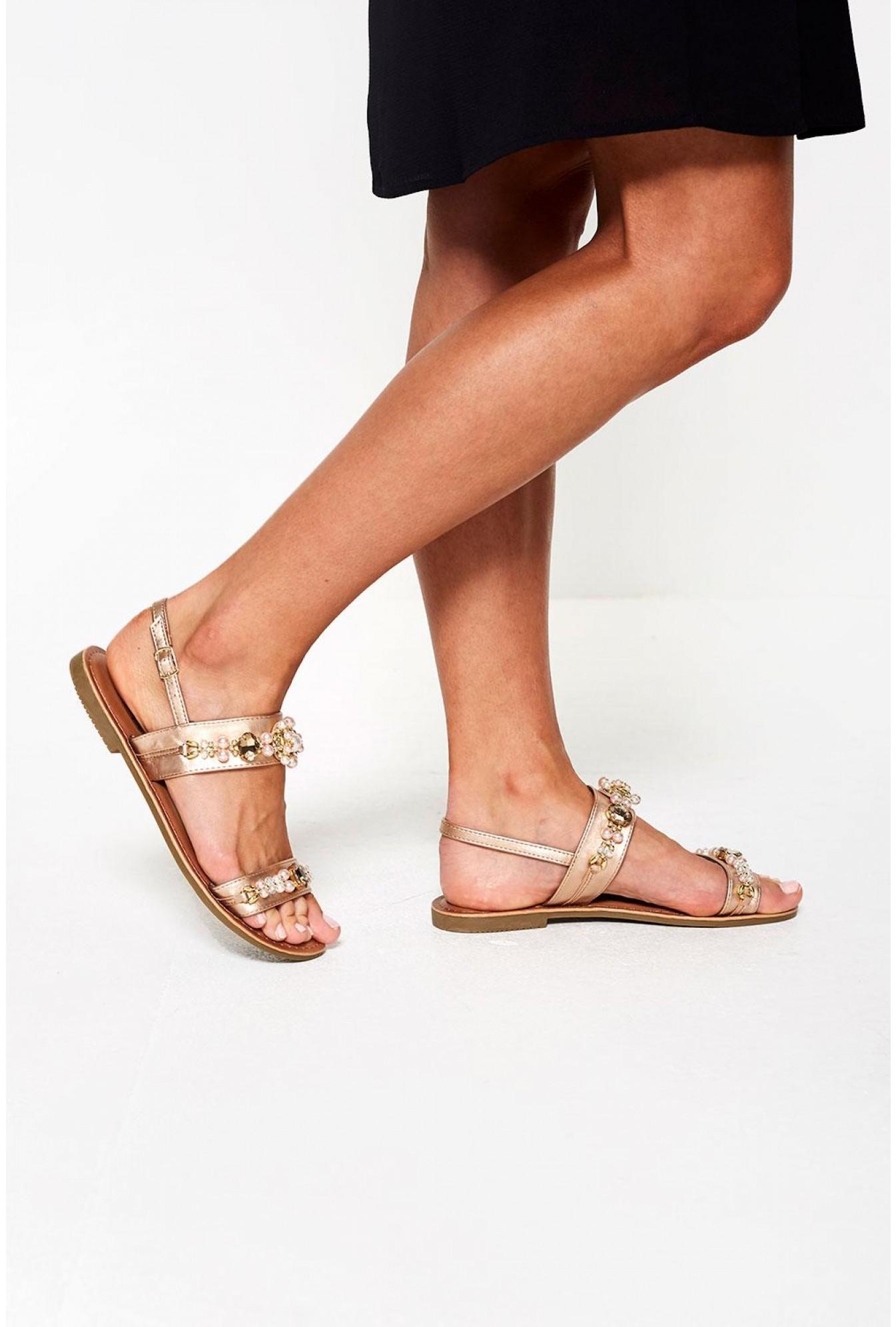 e7765b17113 Itzel Embellished Flat Sandal in Rose Gold