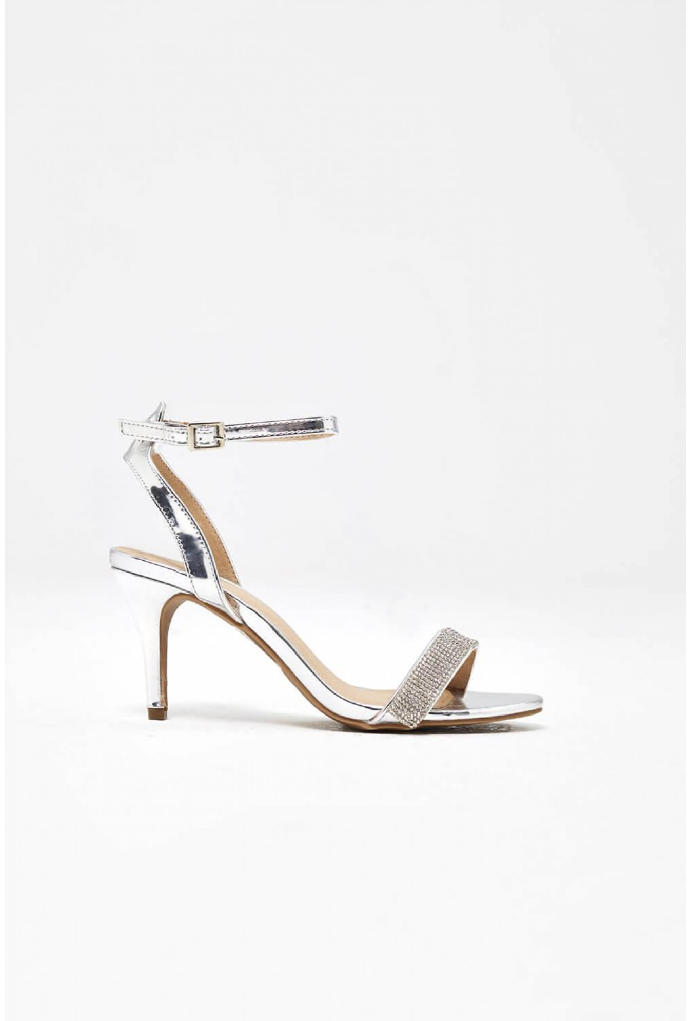 aec8f54bc6d More Views. Jocelyn Diamond Ankle Strap Sandals in Silver