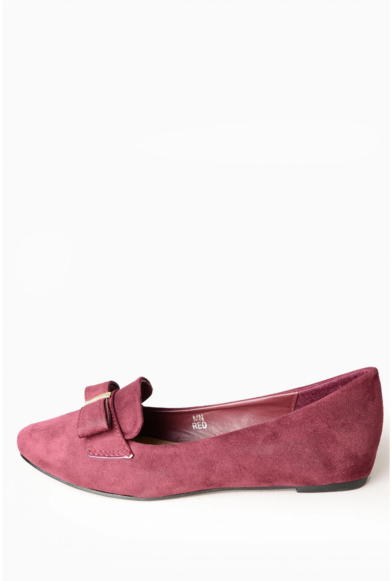 f2d9fc9eacdd More Views. Jaida Bow Flat Shoes in Burgundy