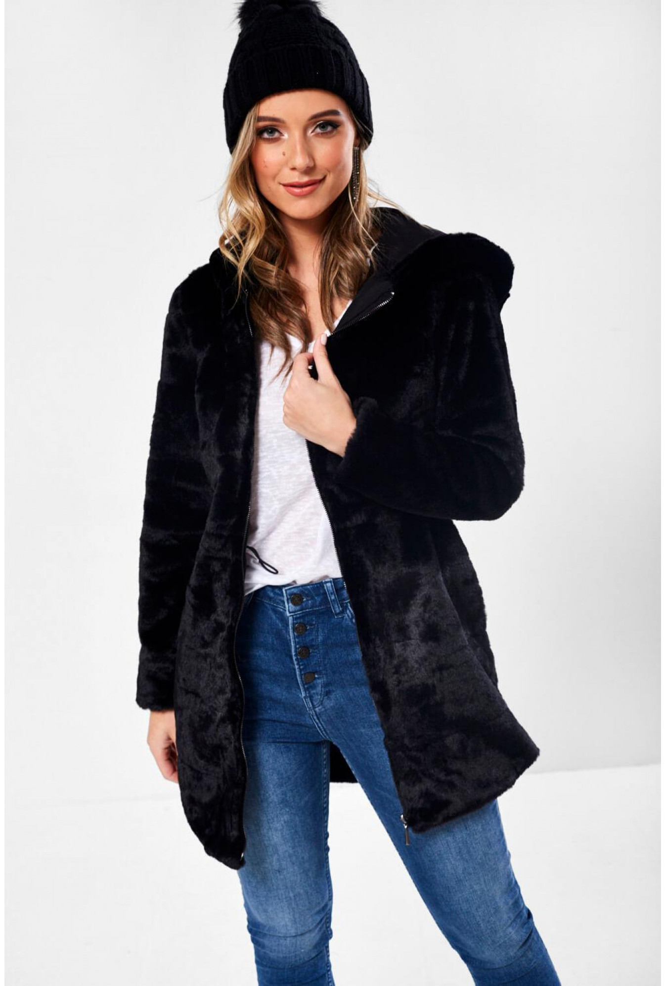 huge sale look out for ever popular Only Chris Faux Fur Hooded Jacket in Black | iCLOTHING