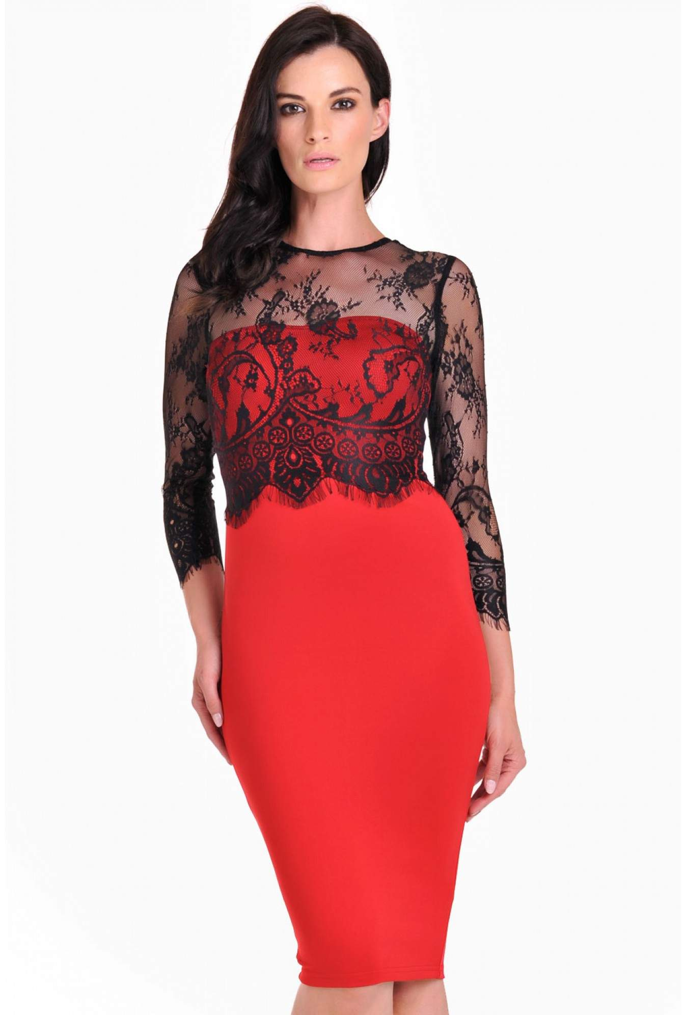94b3581265 More Views. Maddison Lace Sleeve Overlay Midi Dress in Red. AX Paris