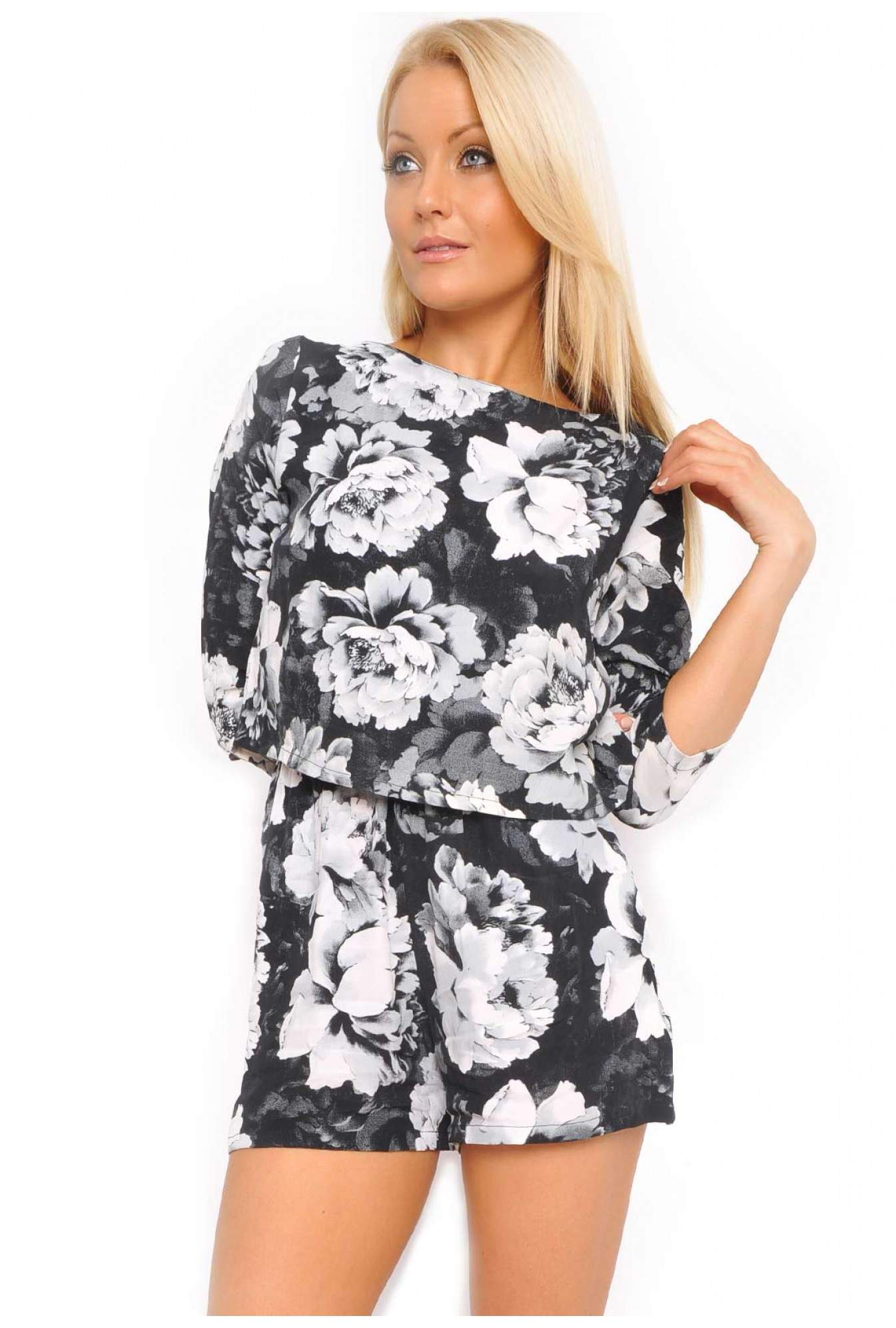 9766c821610 More Views. Motel Jessica Open Back Playsuit in Tonal Floral