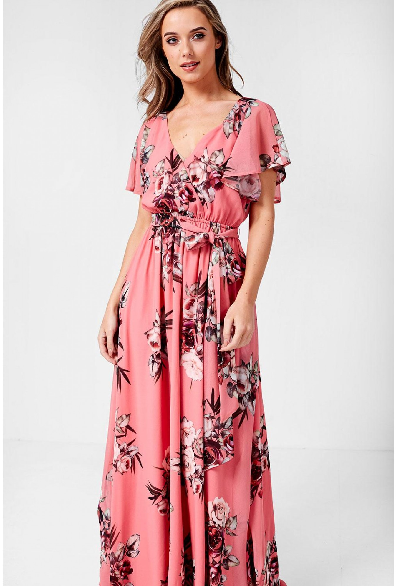 c75386d23f49 More Views. Floral Flutter Sleeve Maxi Dress in Coral