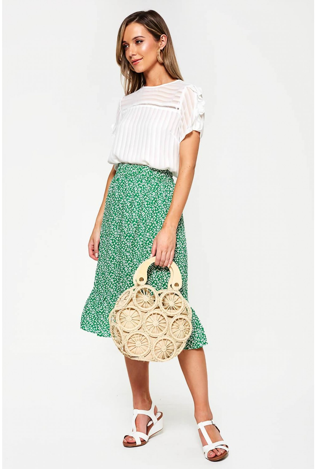 7ef6b27a More Views. Floral Print Midi Skirt in Green