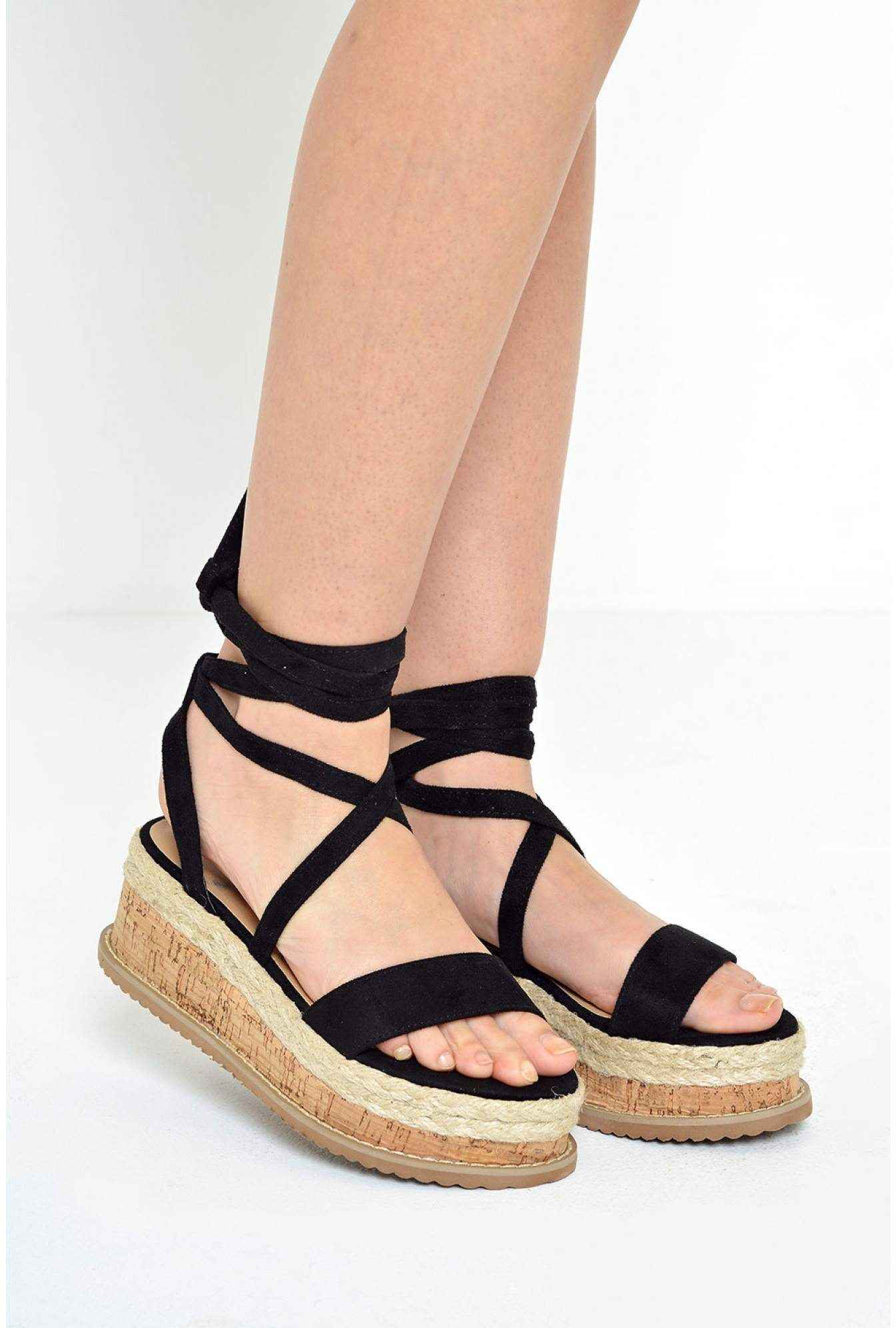 d615b66de0e0 No Doubt Ingrid Lace Up Espadrilles Platform Sandals in Black ...