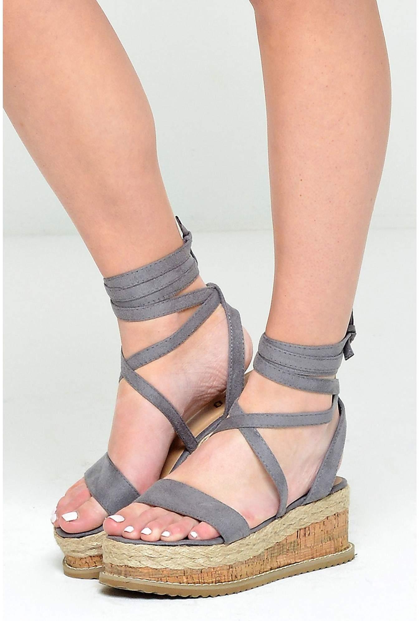 321ebc039ead No Doubt Ingrid Lace Up Espadrilles Platform Sandals in Grey