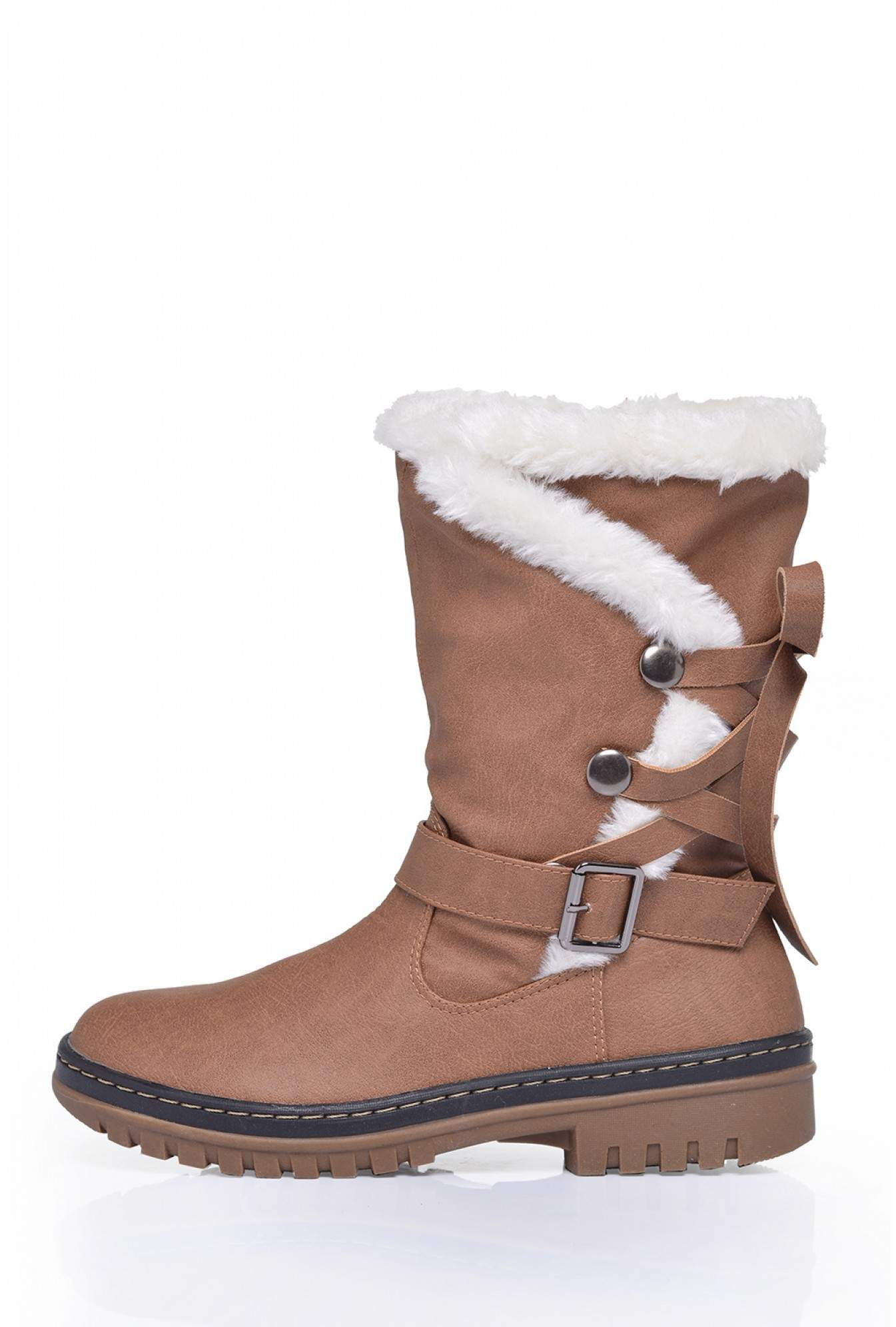 ac957069acf31 No Doubt Lizzy Fur Trim Ankle Boots in Tan | iCLOTHING