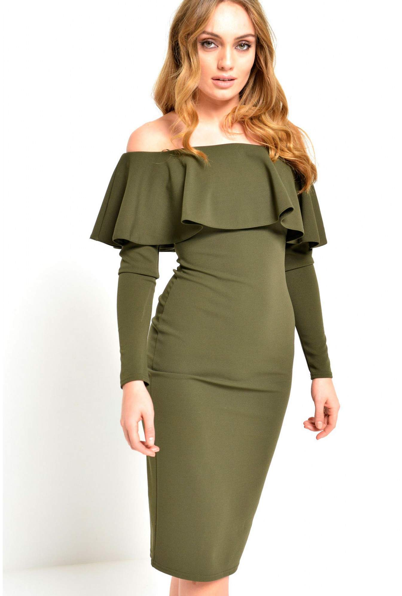 907e02761fc More Views. Luella Off Shoulder Long Sleeve Dress in Khaki. Ad Lib