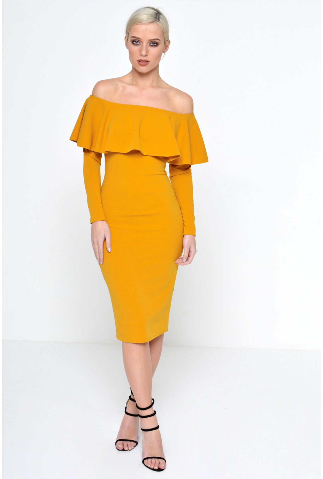 0434bff88a4 More Views. Luella Off Shoulder Long Sleeve Dress in Mustard. Ad Lib