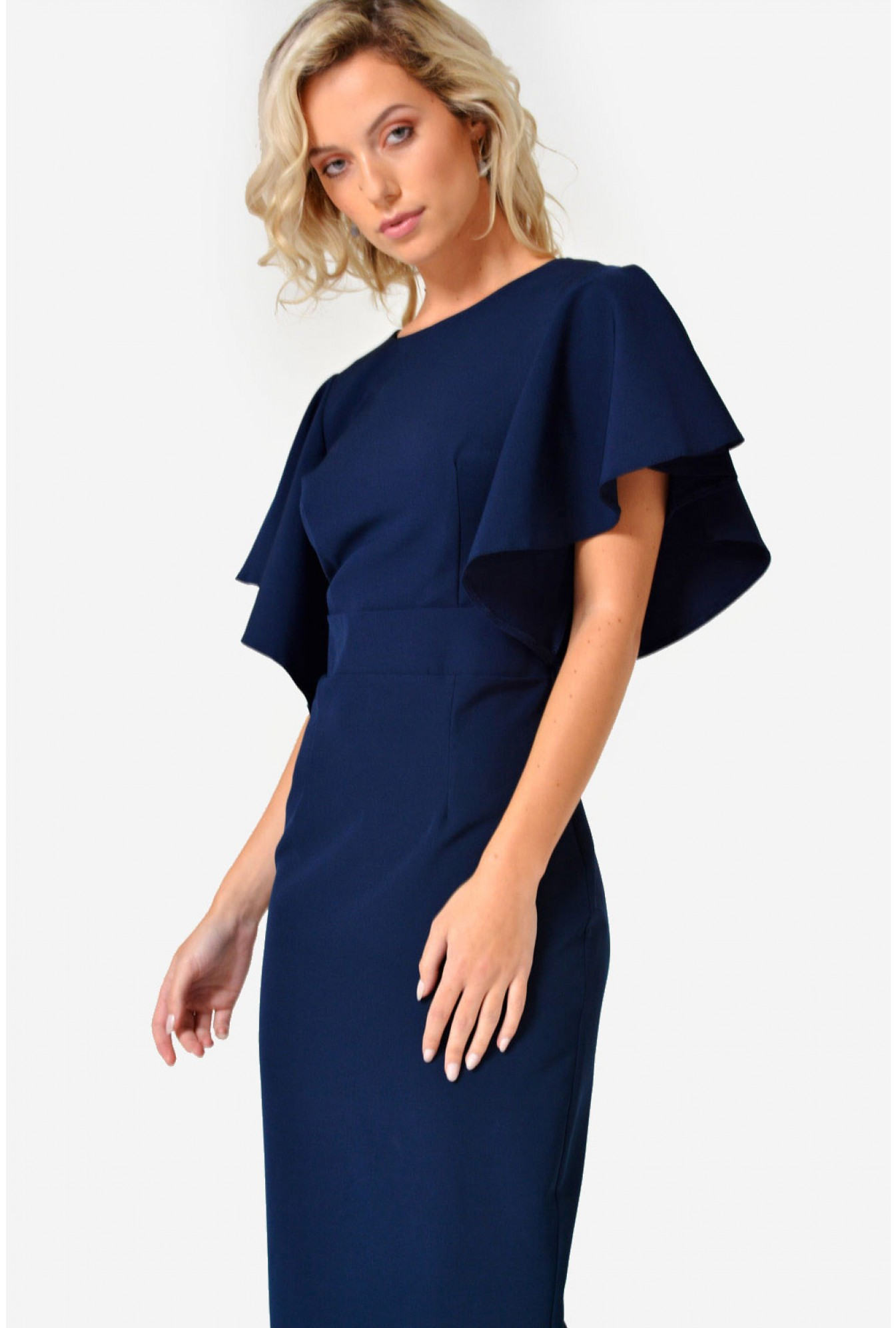 More Views. Erin Frill Midi Dress in Navy 3d7232914