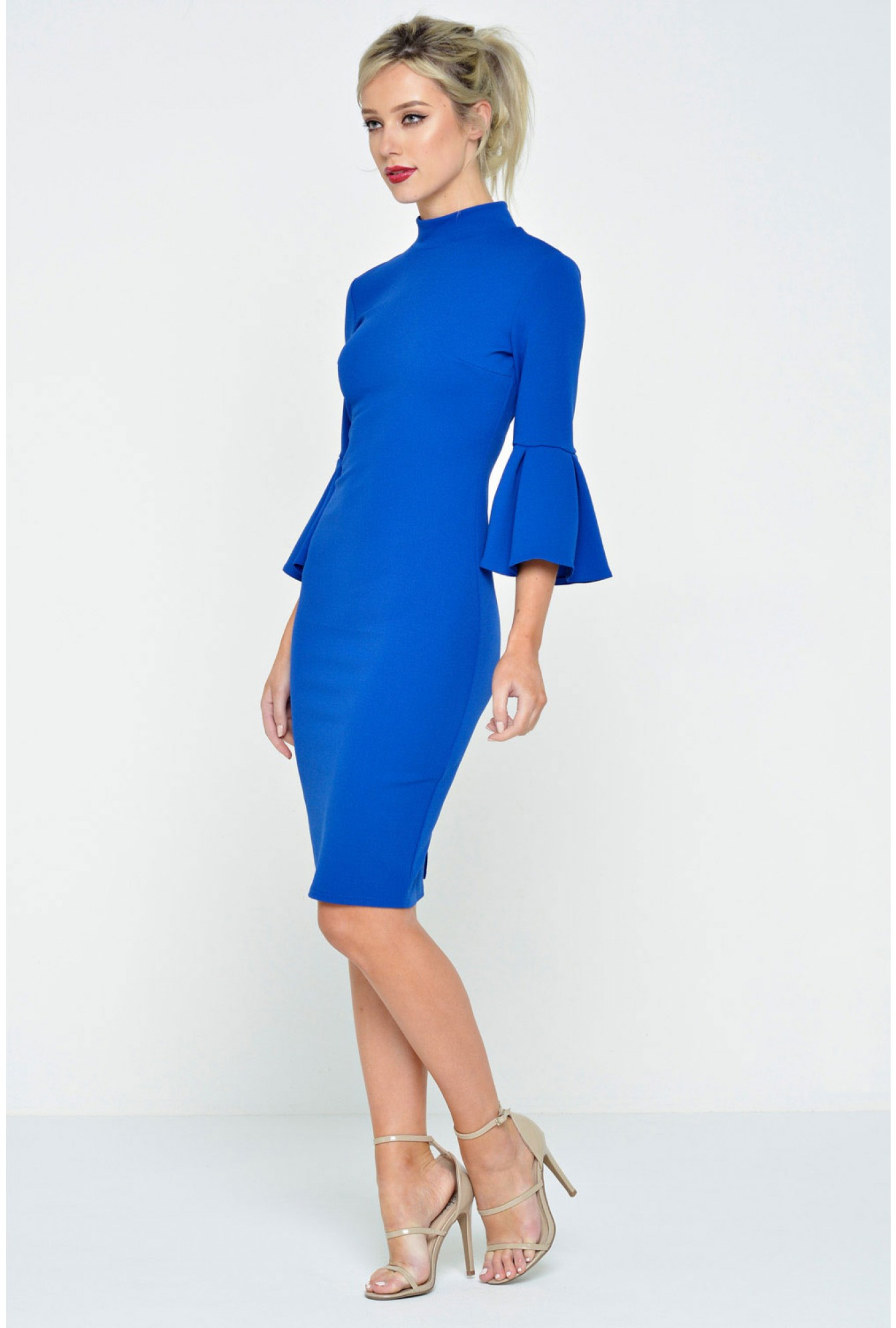 a3432955694 Ad Lib Sunny Flared Sleeve Midi Dress in Royal Blue