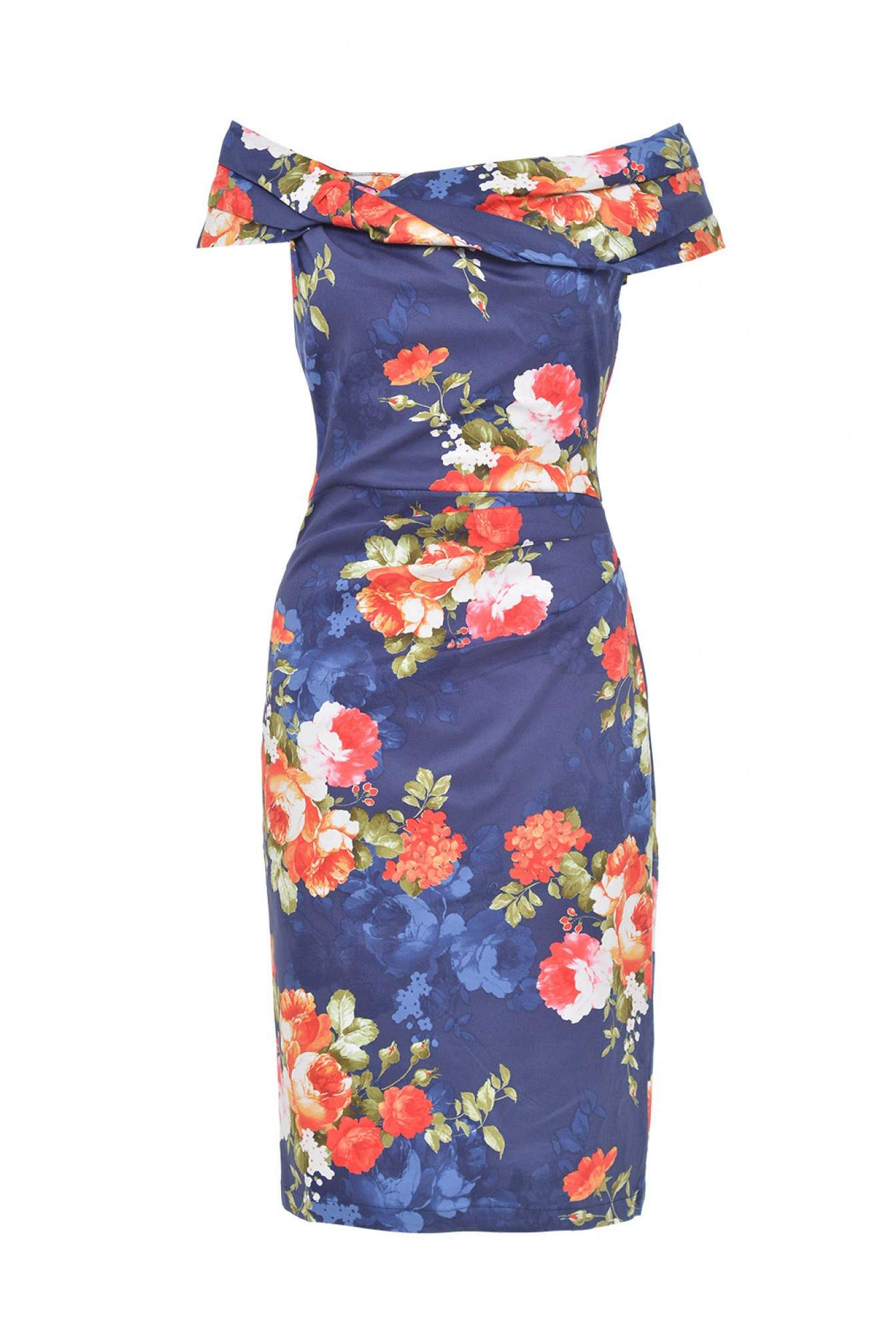 a6685bc5a5aa Jolie Moi Alva Floral Off Shoulder Dress in Navy