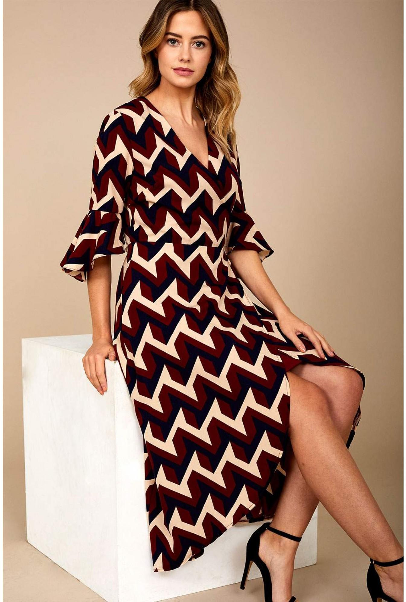 e4610eb0 Marc Angelo Sienna Geometric Print Midi Dress in Wine | iCLOTHING