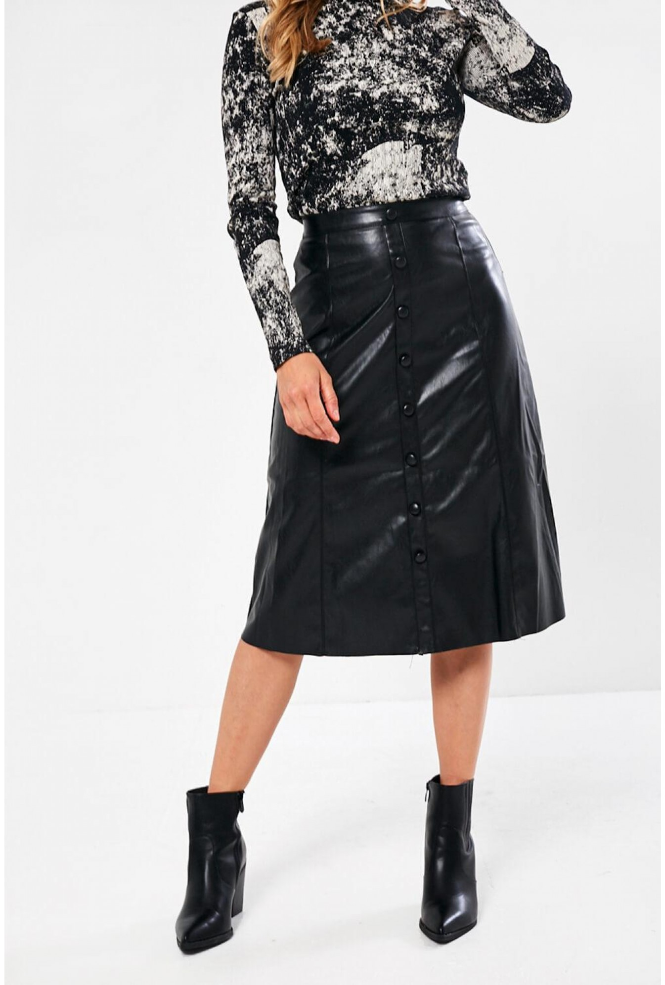 customers first big selection release date: Gill A-Line Faux Leather Midi Skirt in Black