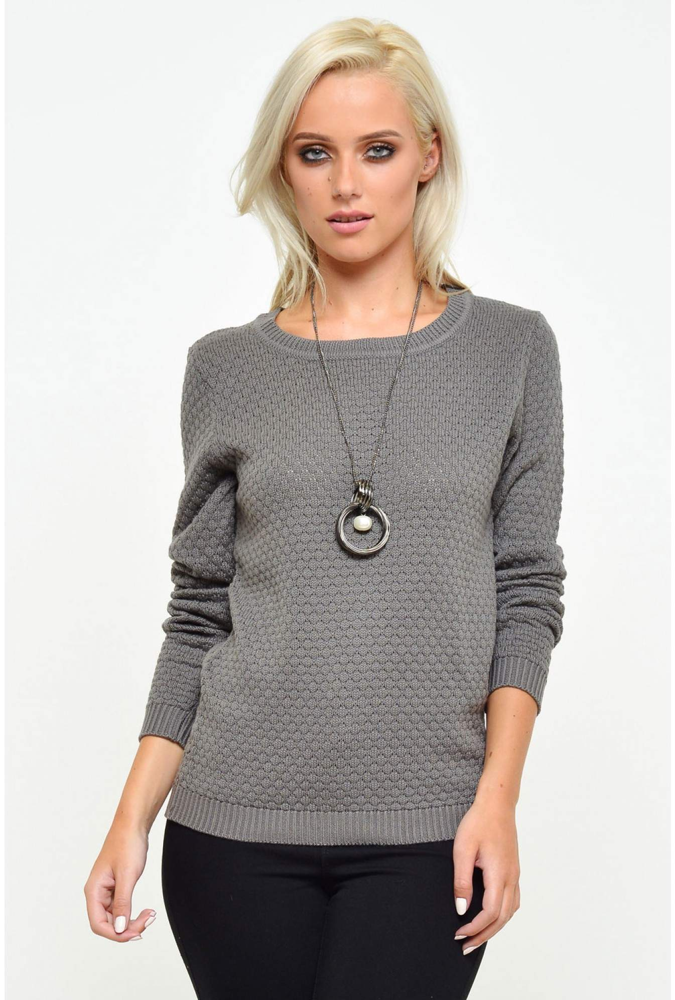 9f6c4c6cb57 More Views. Share Knit Top in Granite Grey