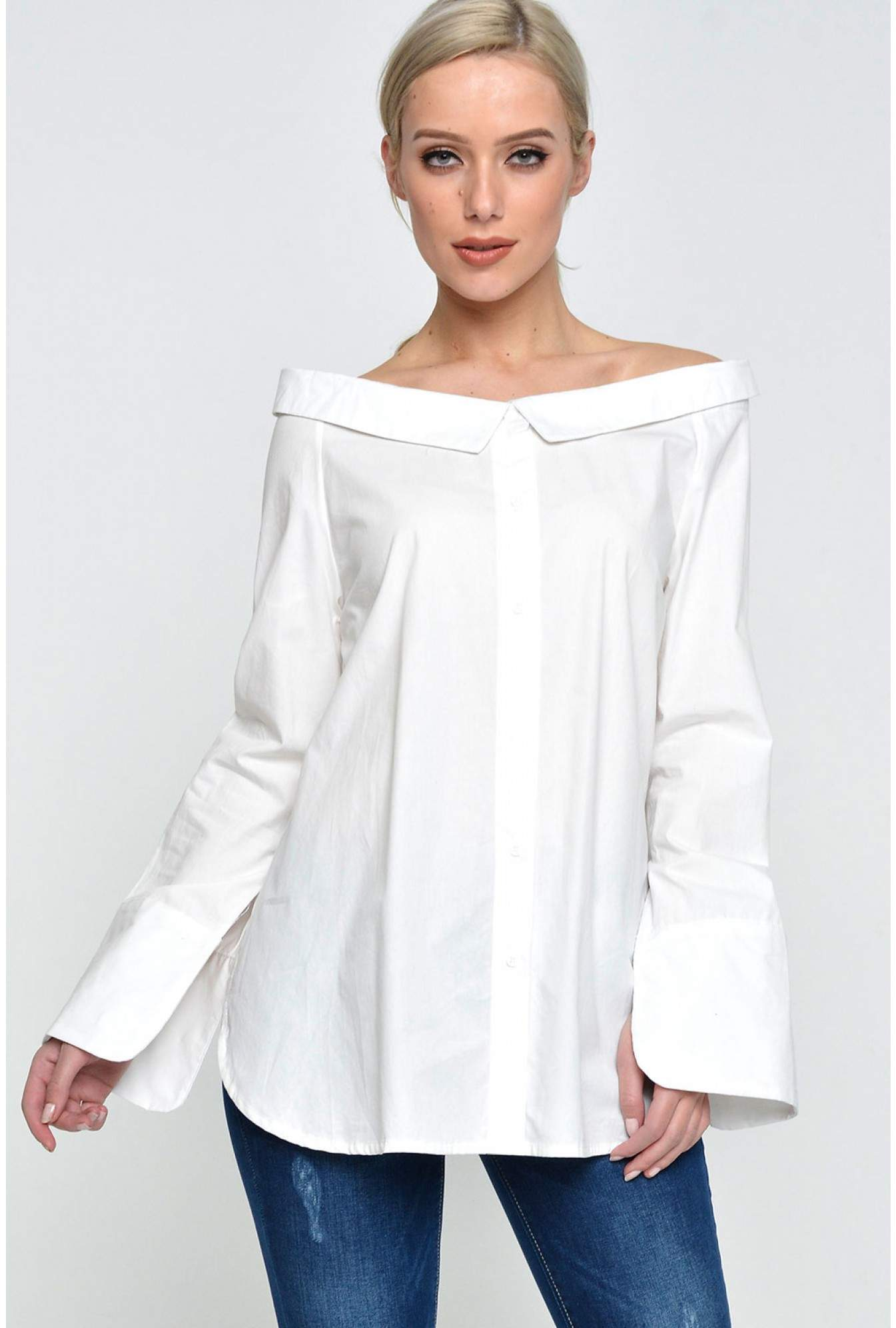 e82cf45aa388 More Views. Stacey Off Shoulder Shirt in Off White