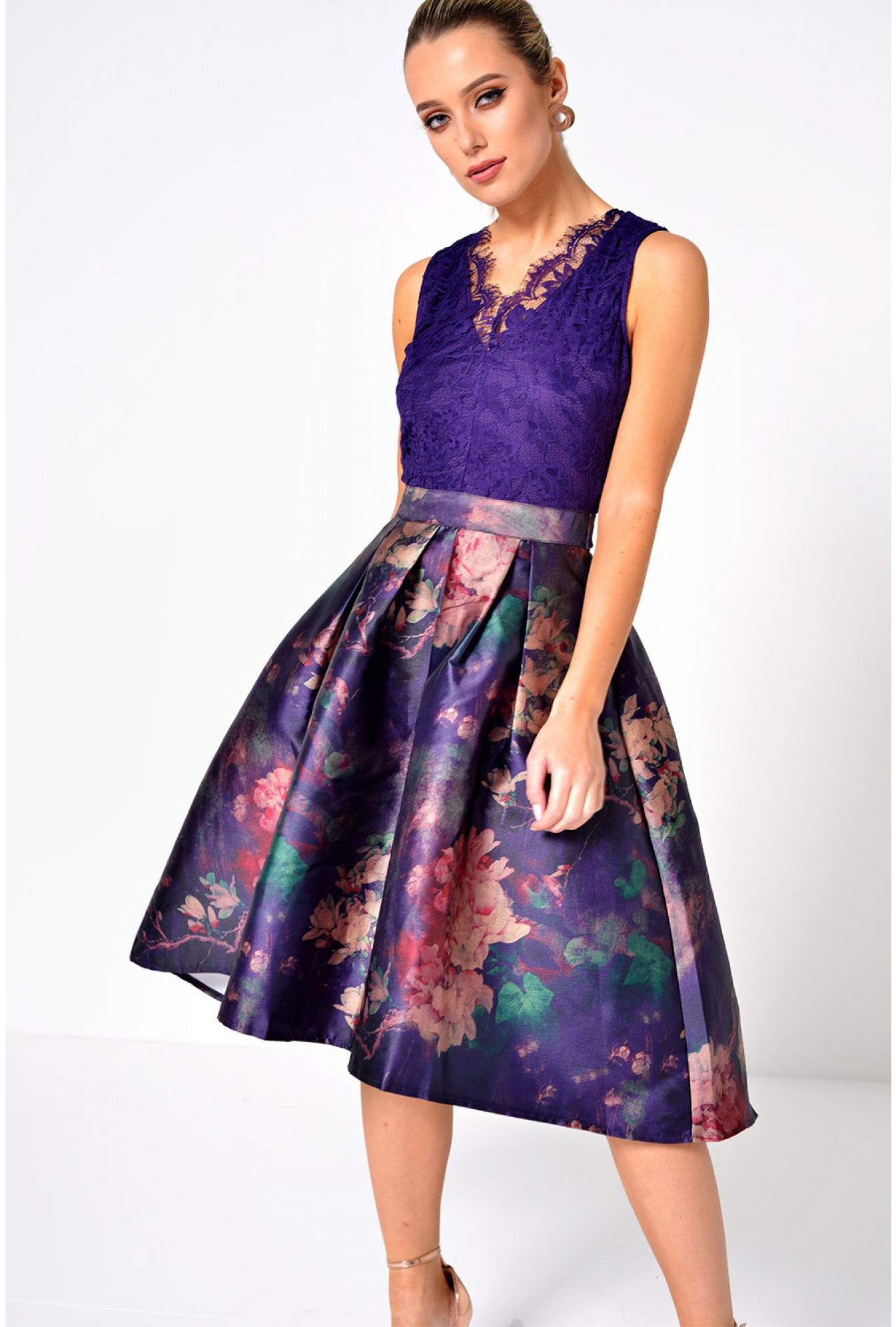 d1c859ed46309 Marc Angelo Paige Lace Top Skater Dress on Purple