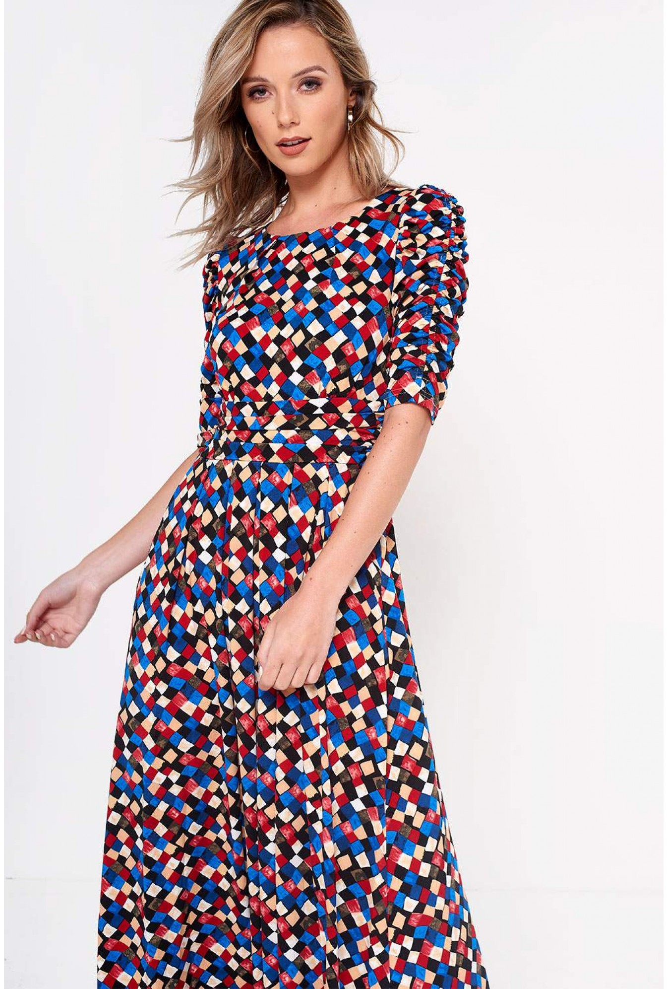 e5b14f0b699f3 Jolie Moi Charlotte Geometric Print Maxi Jersey Dress | iCLOTHING
