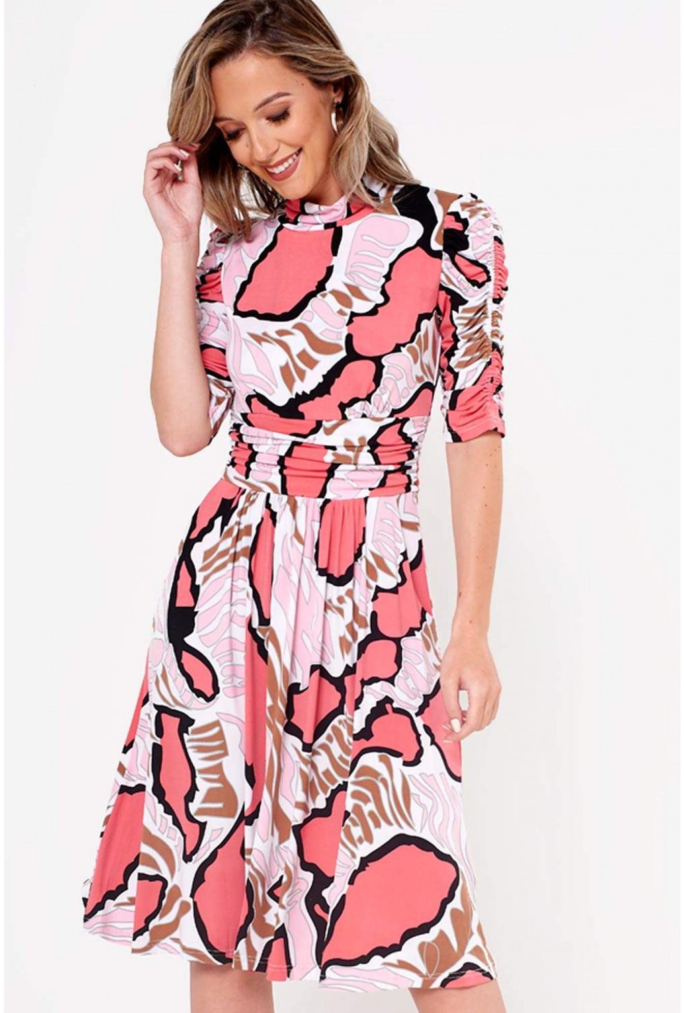 997471bfe2c10 Jolie Moi Kate Abstract Print Jersey Dress in Pink | iCLOTHING