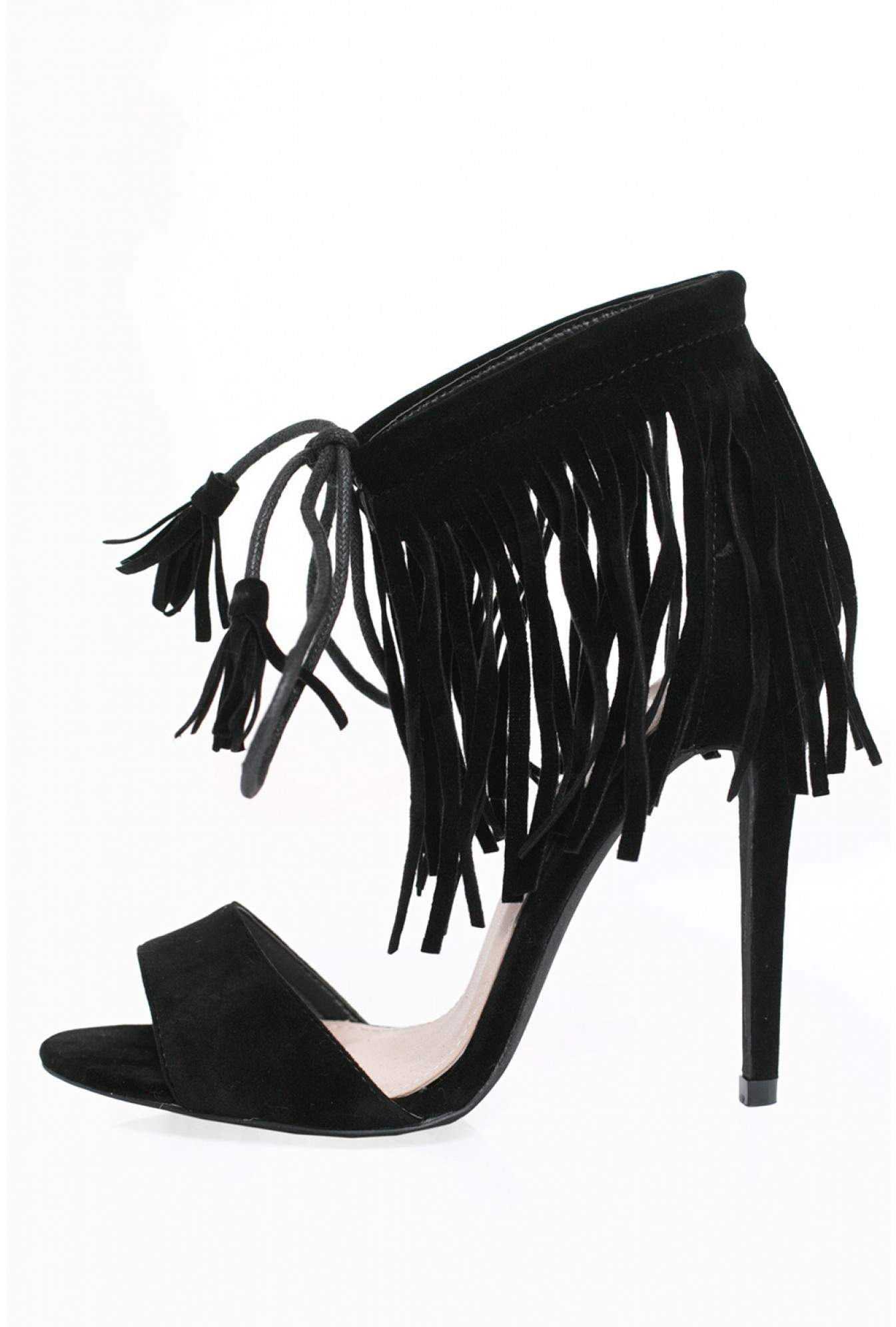 4c1908e019c Indigo Footwear Noella Fringe Heeled Sandals in Black