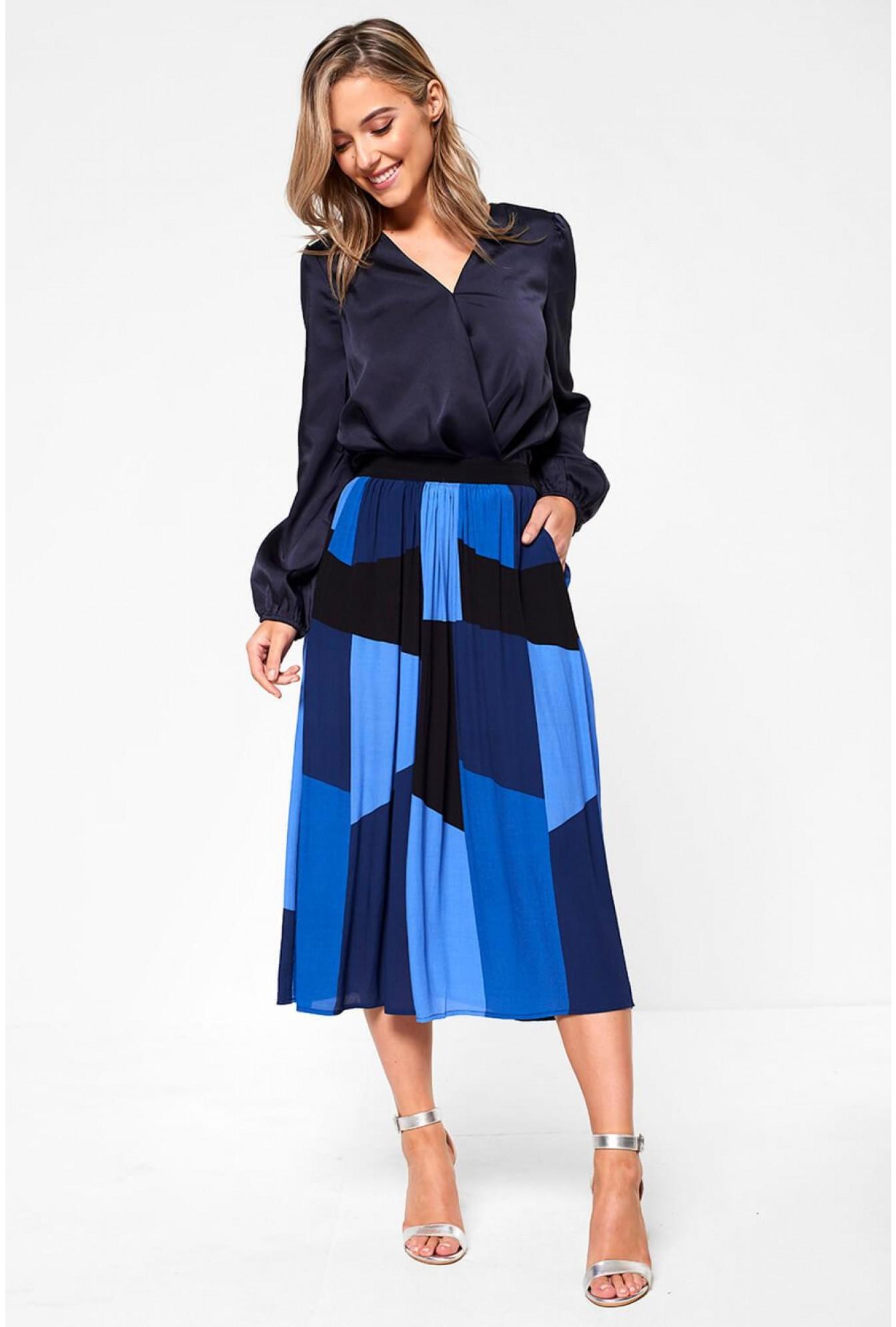abd7b6395 Vero Moda Molly High Waist Knee Skirt in Blue | iCLOTHING