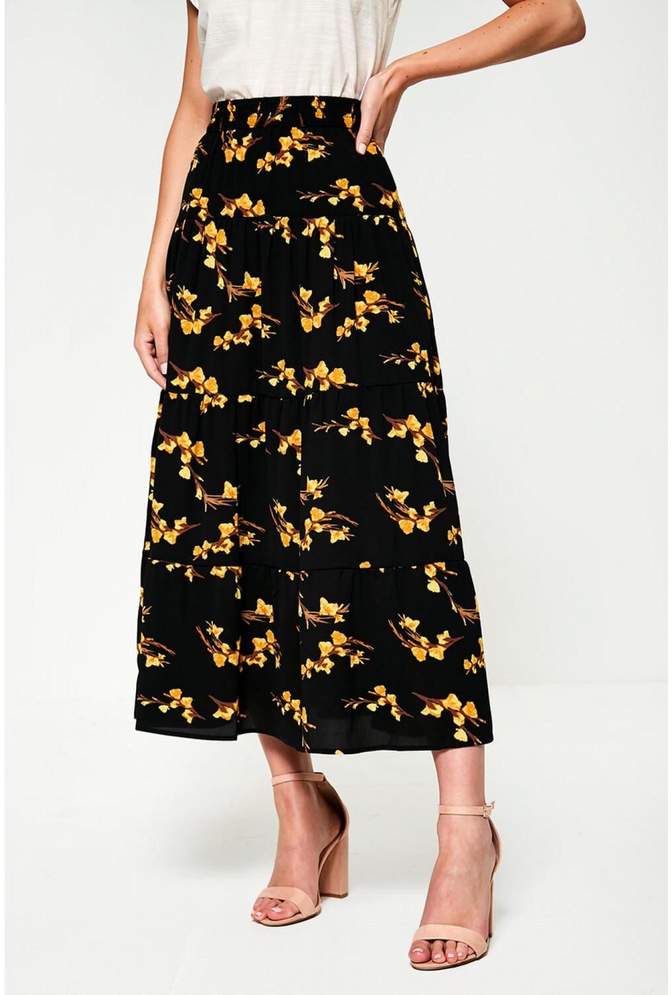 9ec3645fa9 More Views. Saga High Waist Skirt In Black Floral Print