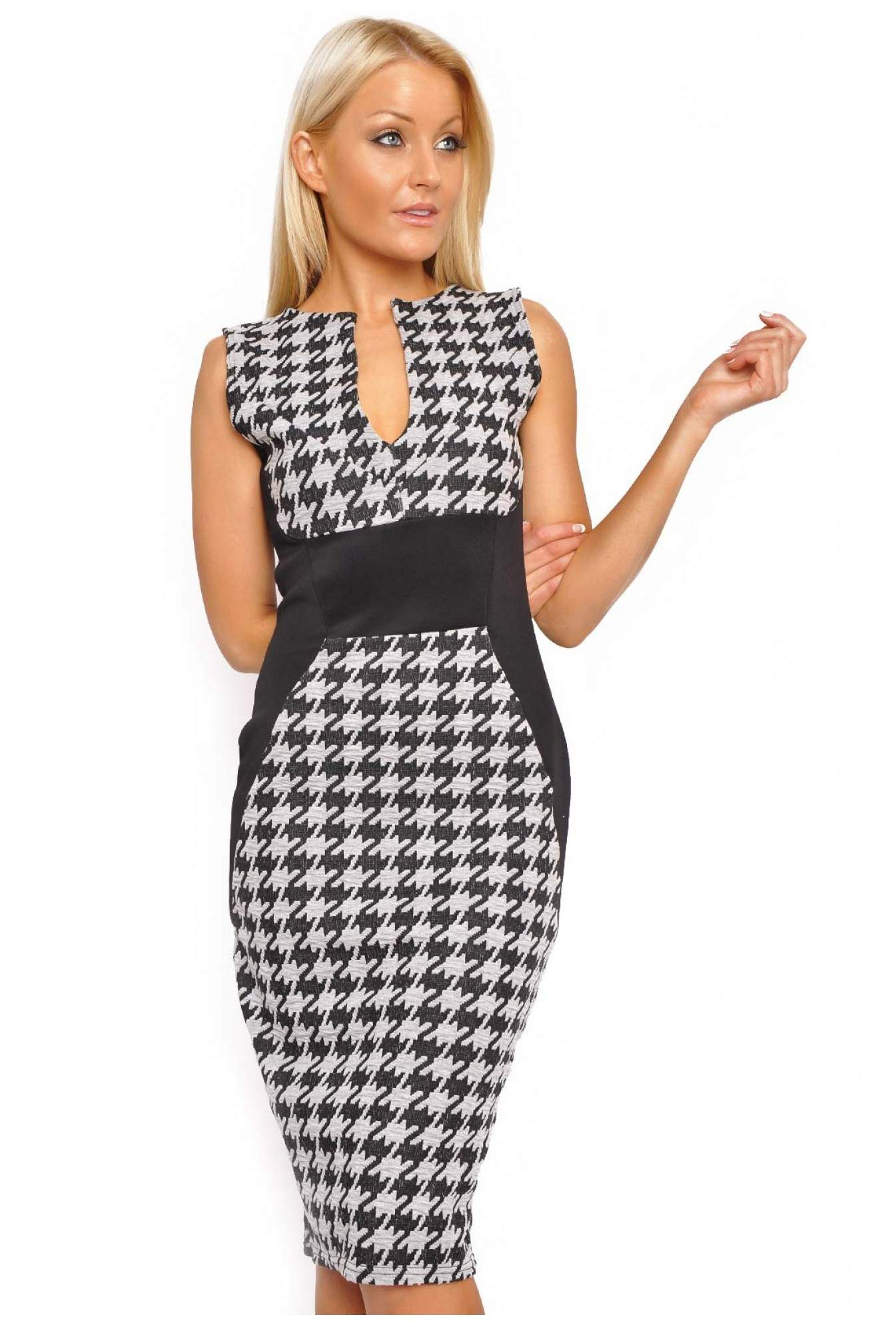 52349497 More Views. Dakota Houndstooth Panel Dress