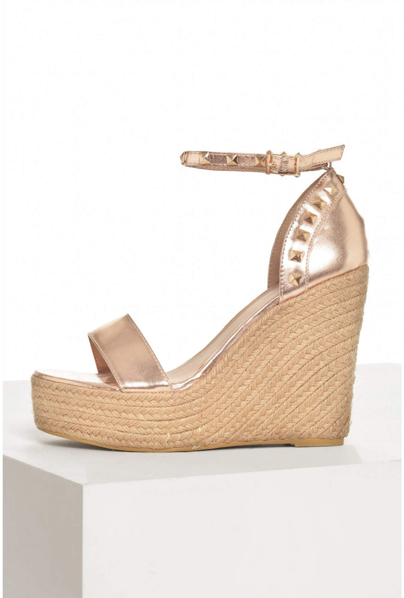 0256eadbe498 No Doubt Rachel Studded Espadrille Wedges in Rose Gold