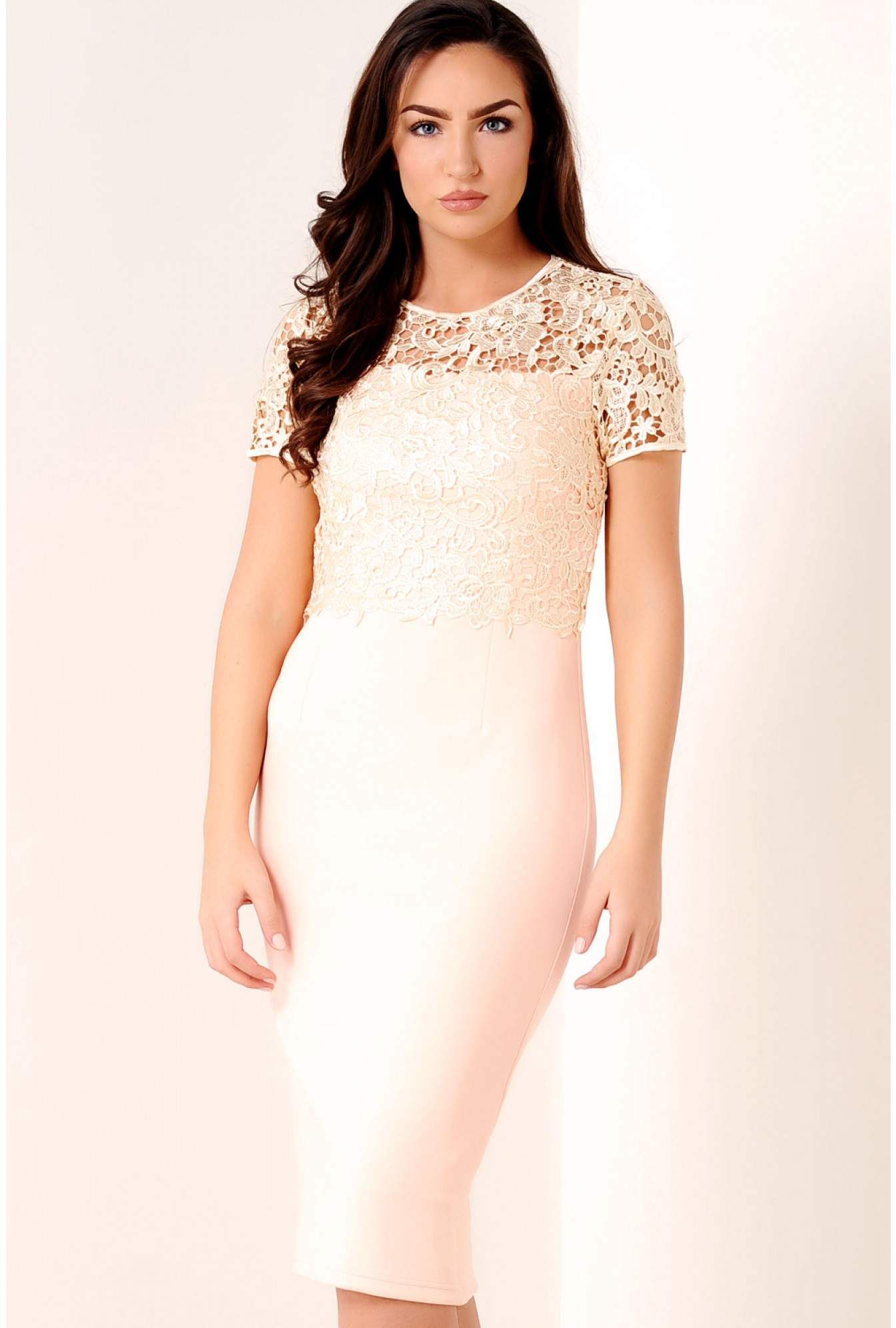 a3c484d6a6945 Blythe Lace Overlay Dress in Nude