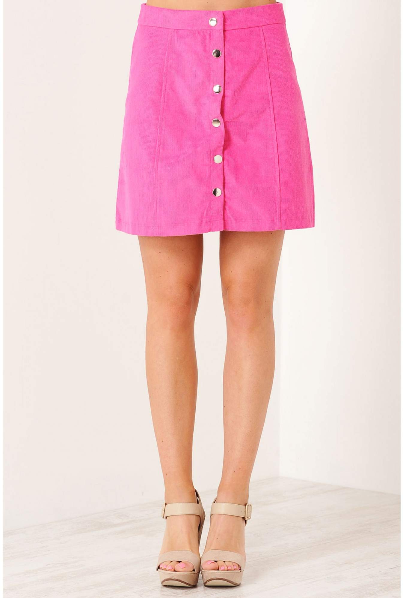 44d68492ab iCLOTHING Avril Button Front Mini Skirt in Pink | iCLOTHING