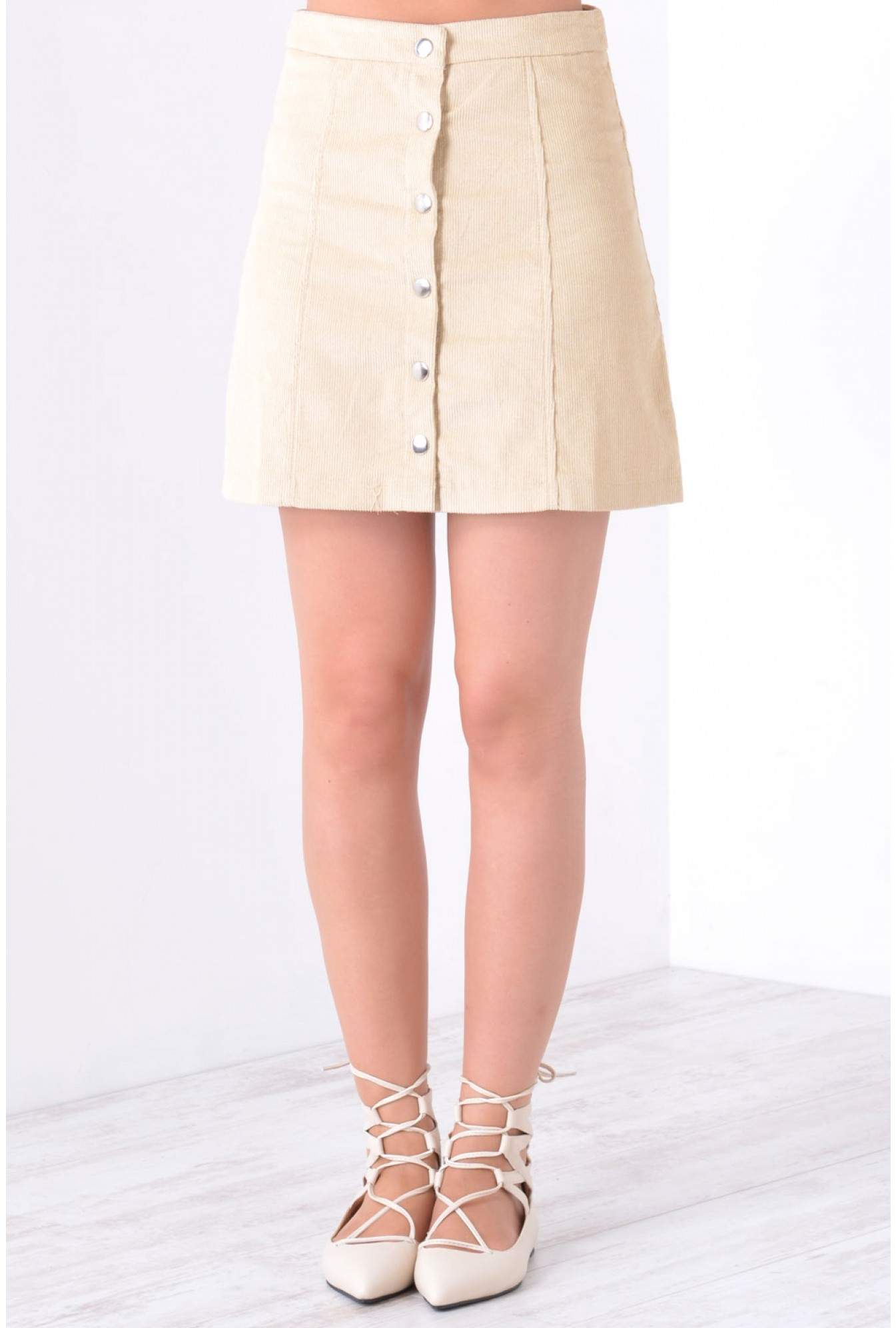 0dc2ec4b49 iCLOTHING Avril Button Front Mini Skirt in Stone | iCLOTHING