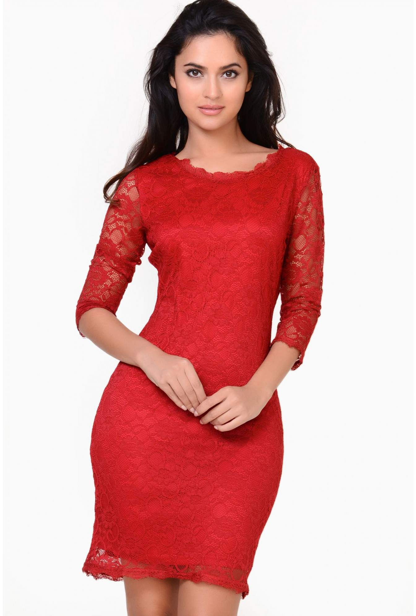 c468ca81c738 Red Lace Bodycon Dress With Sleeves - raveitsafe