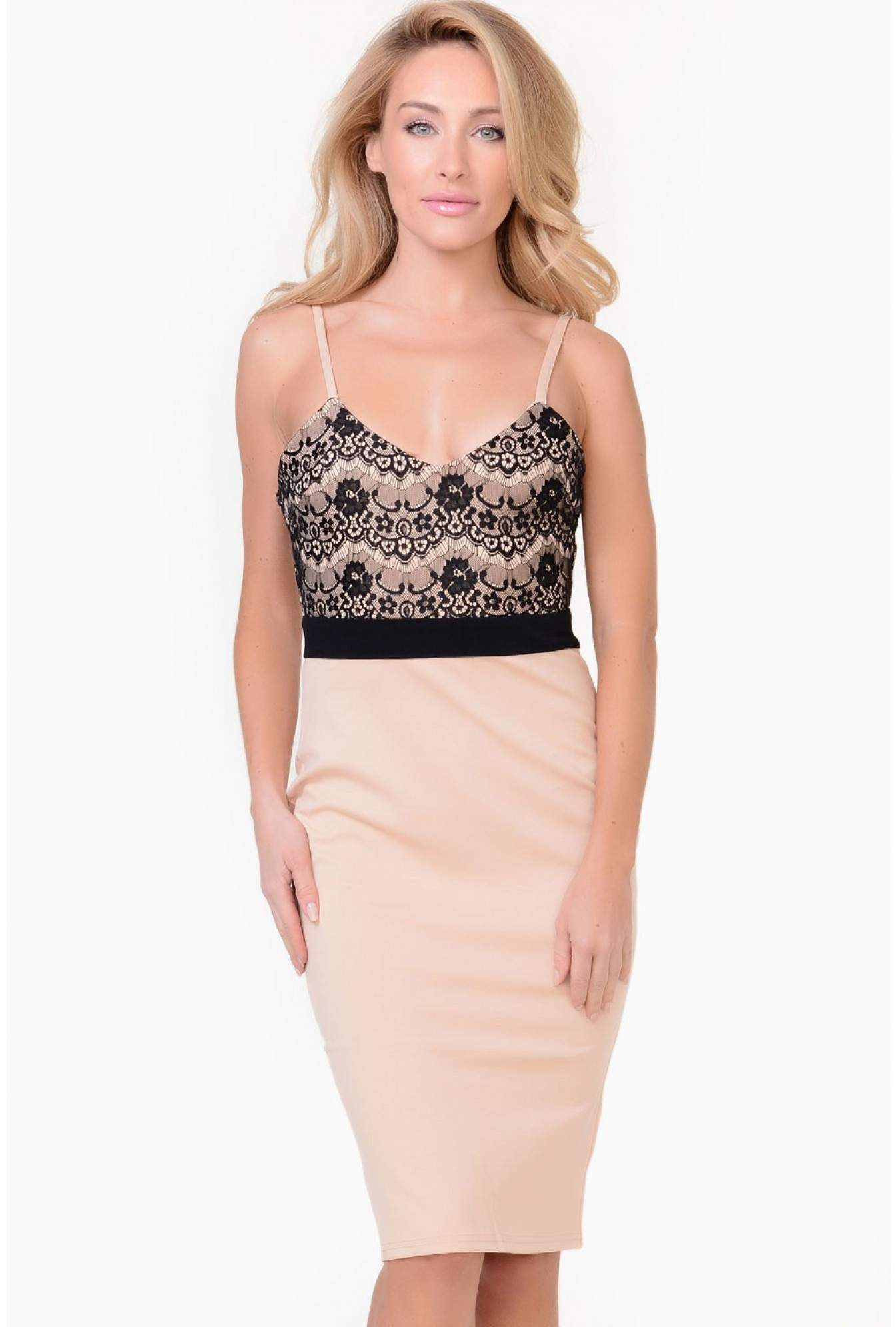 70599c955250 More Views. Sinead Lace Strappy Midi Dress in Nude. AX Paris