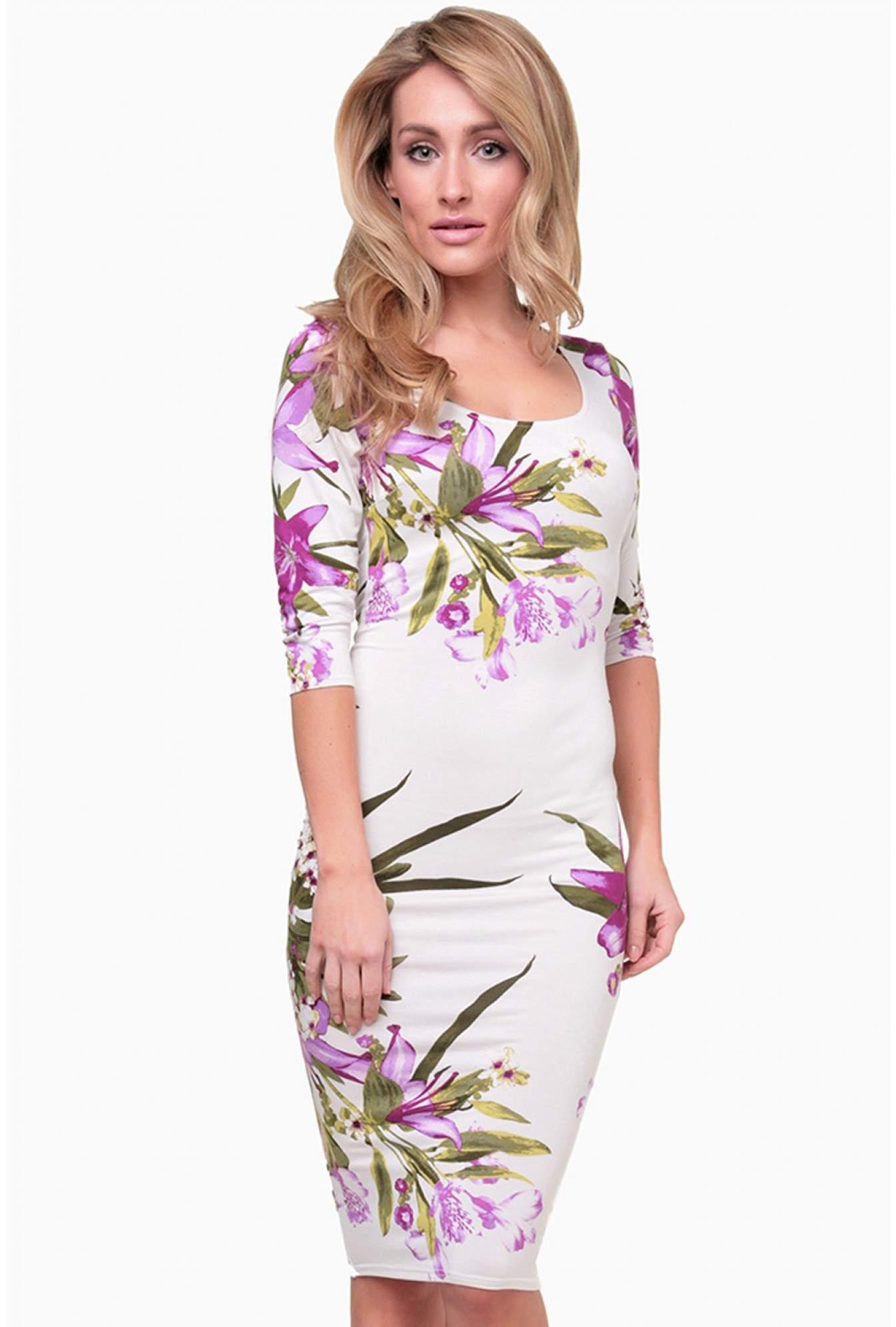 794d6536e61 Purple Floral Print Bodycon Dress