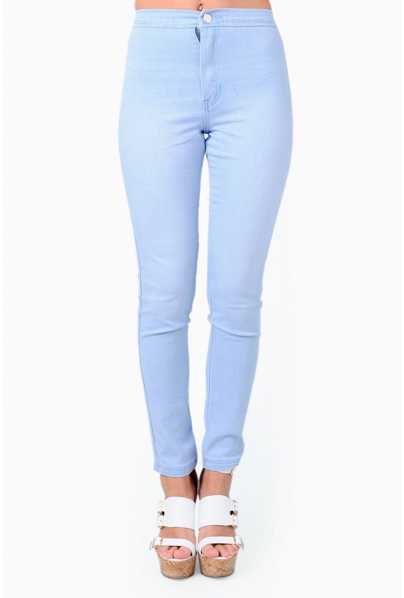 e7baaabf440bf9 More Views. Erika High Waisted Denim Jeggings in Light Blue