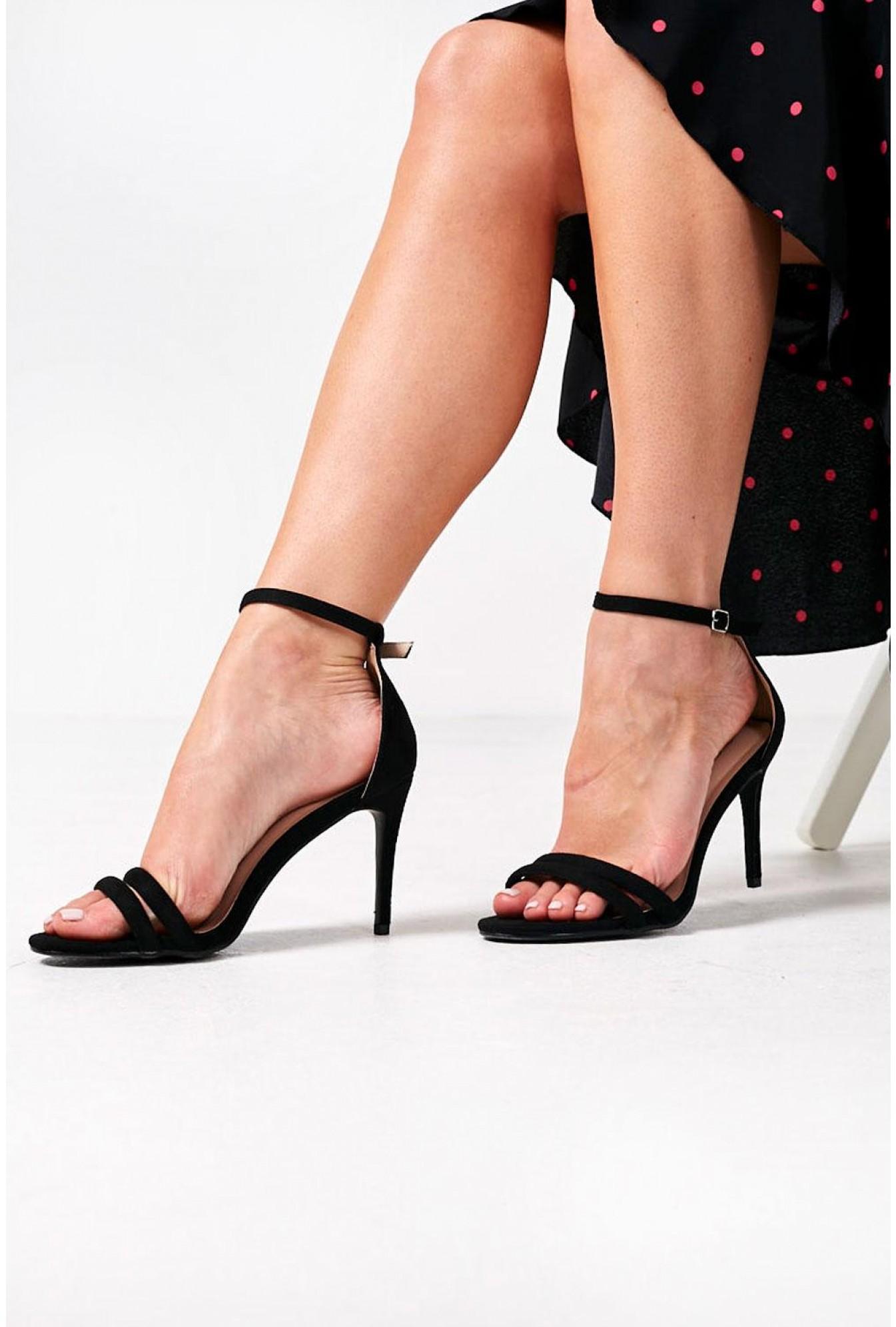 83f8ac00613 Isabella Ankle Strap Heels in Black Suede