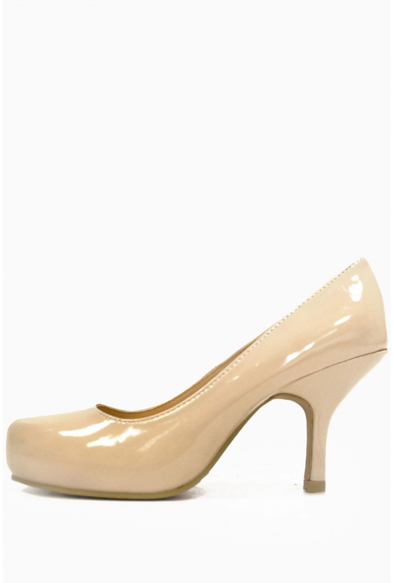 8d9f9f94f51 Ivy Patent Mid Heel Court Shoe in Nude