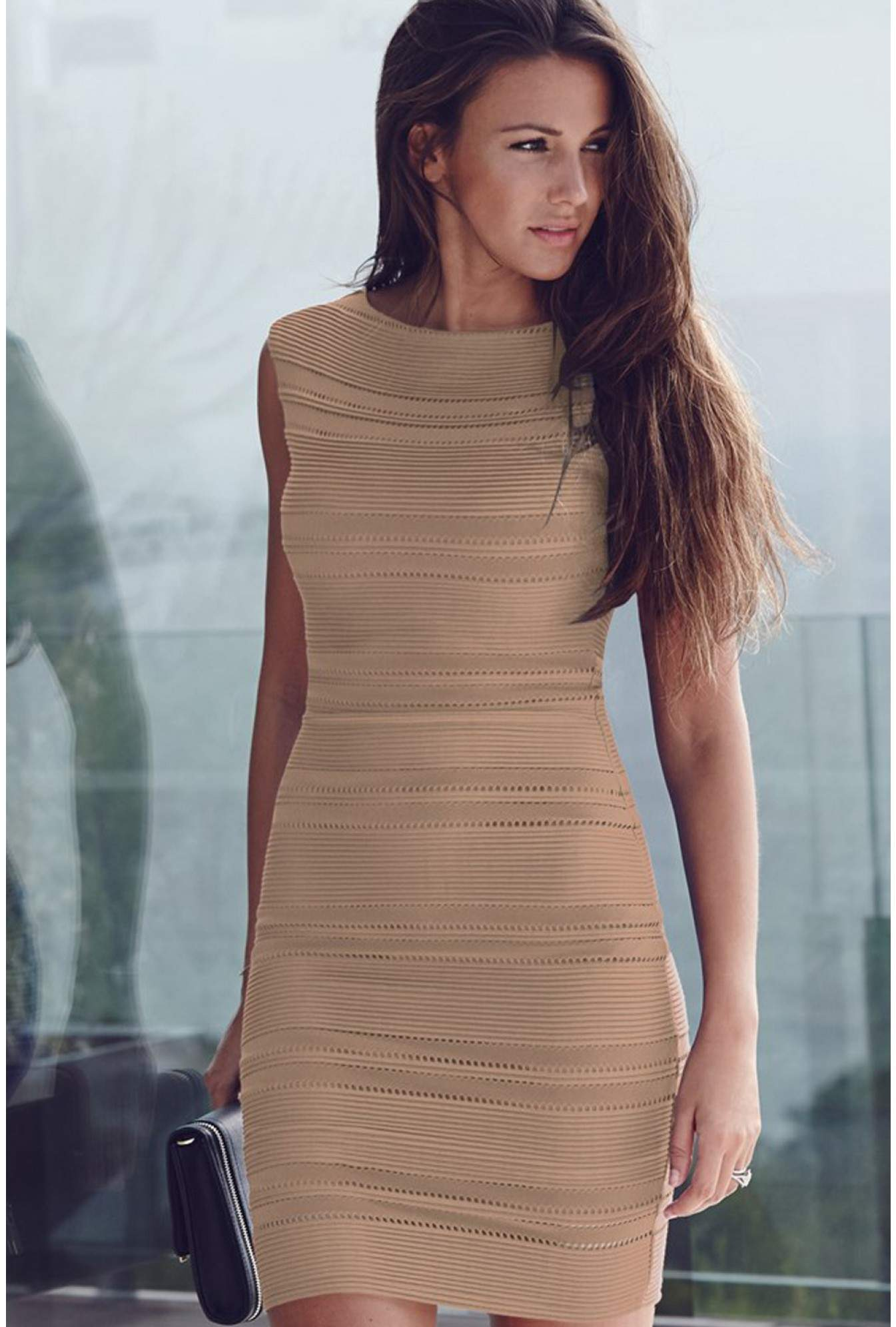 cacbe6aec8f0 Lipsy Michelle Keegan Ripple Midi Bodycon Dress in Nude | iCLOTHING