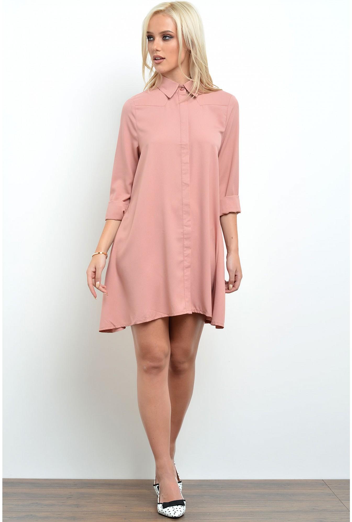 104b3711fd6c Glamorous Lonnie Swing Shirt Dress in Dusty Pink