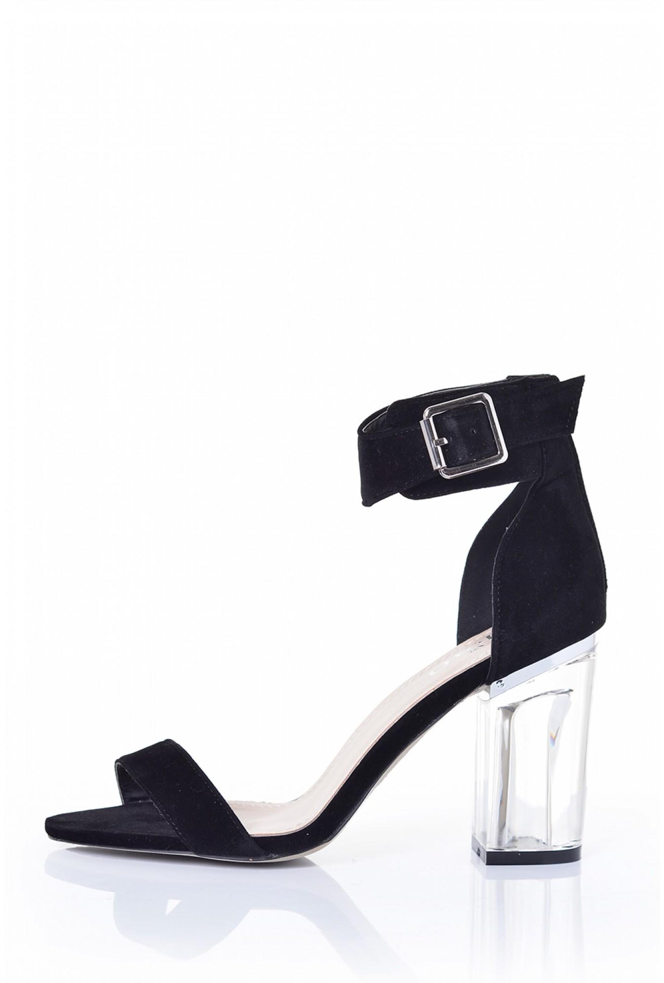 e42ea34e2a5 More Views. Flavia Clear Heel Sandals in Black Suede